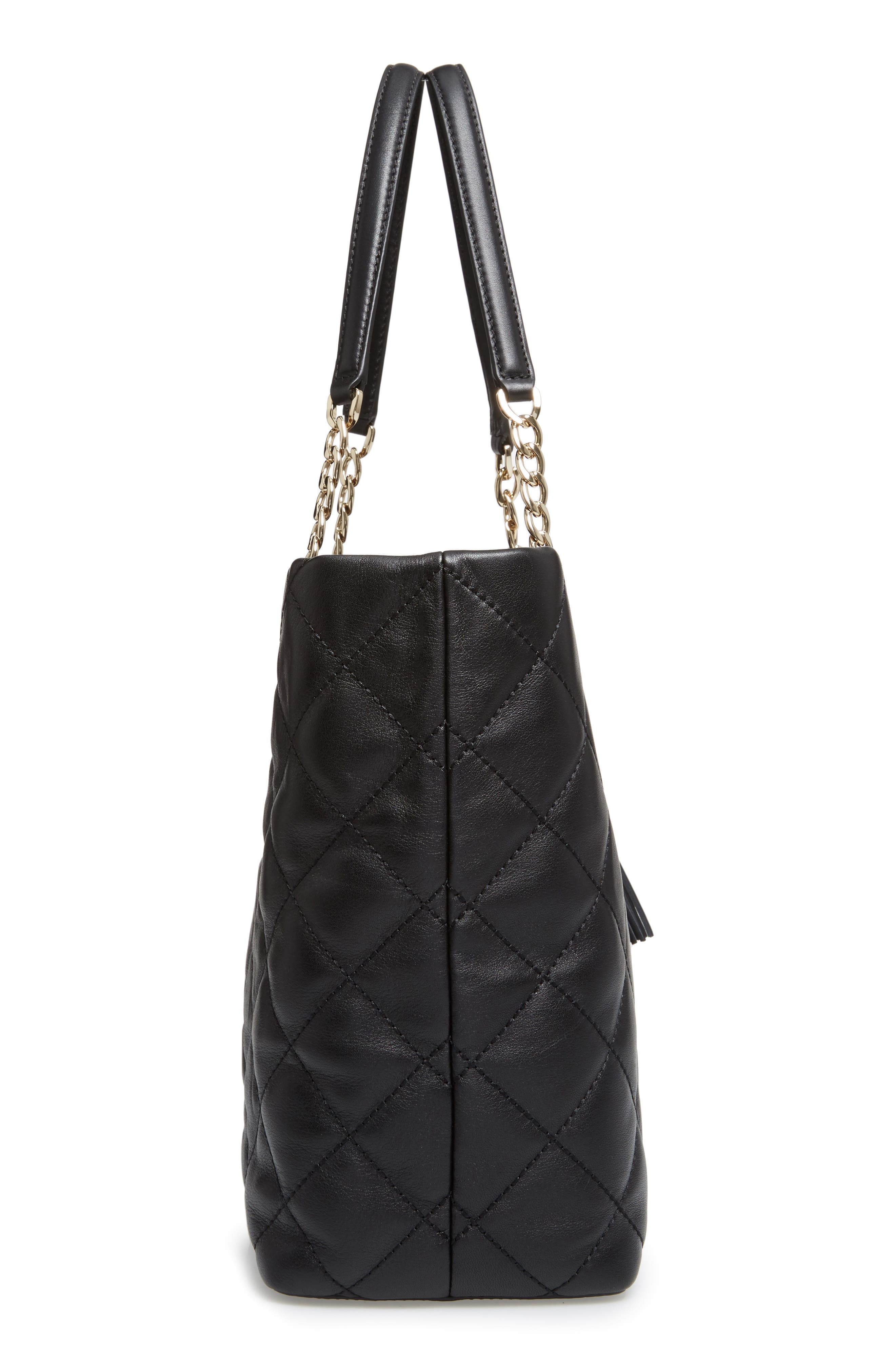 emerson place - priya quilted leather tote,                             Alternate thumbnail 5, color,                             Black