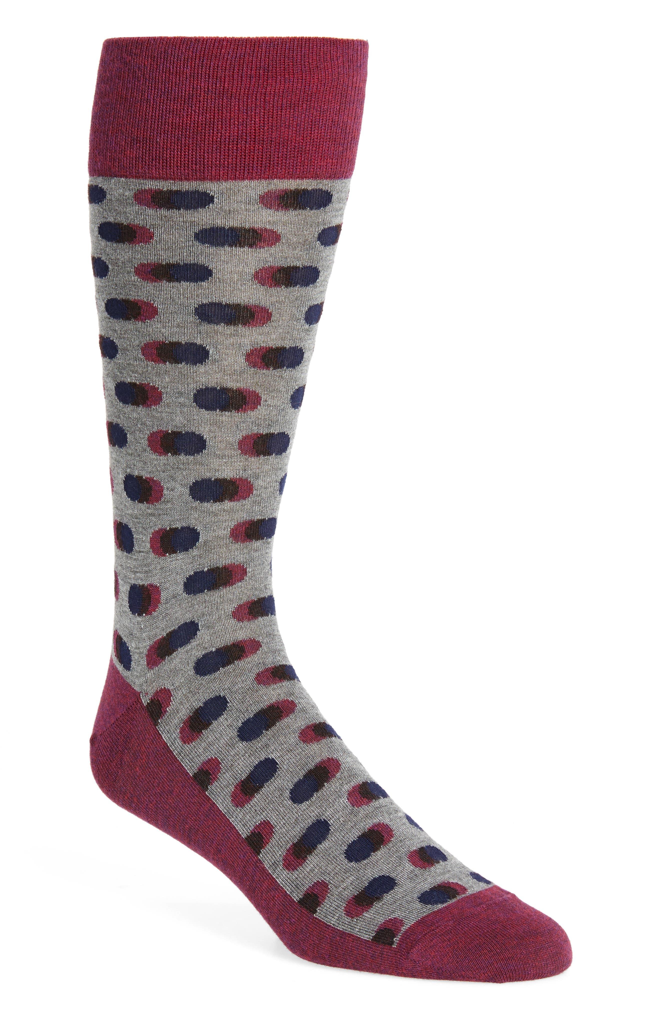 Dot Socks,                         Main,                         color, Burgundy