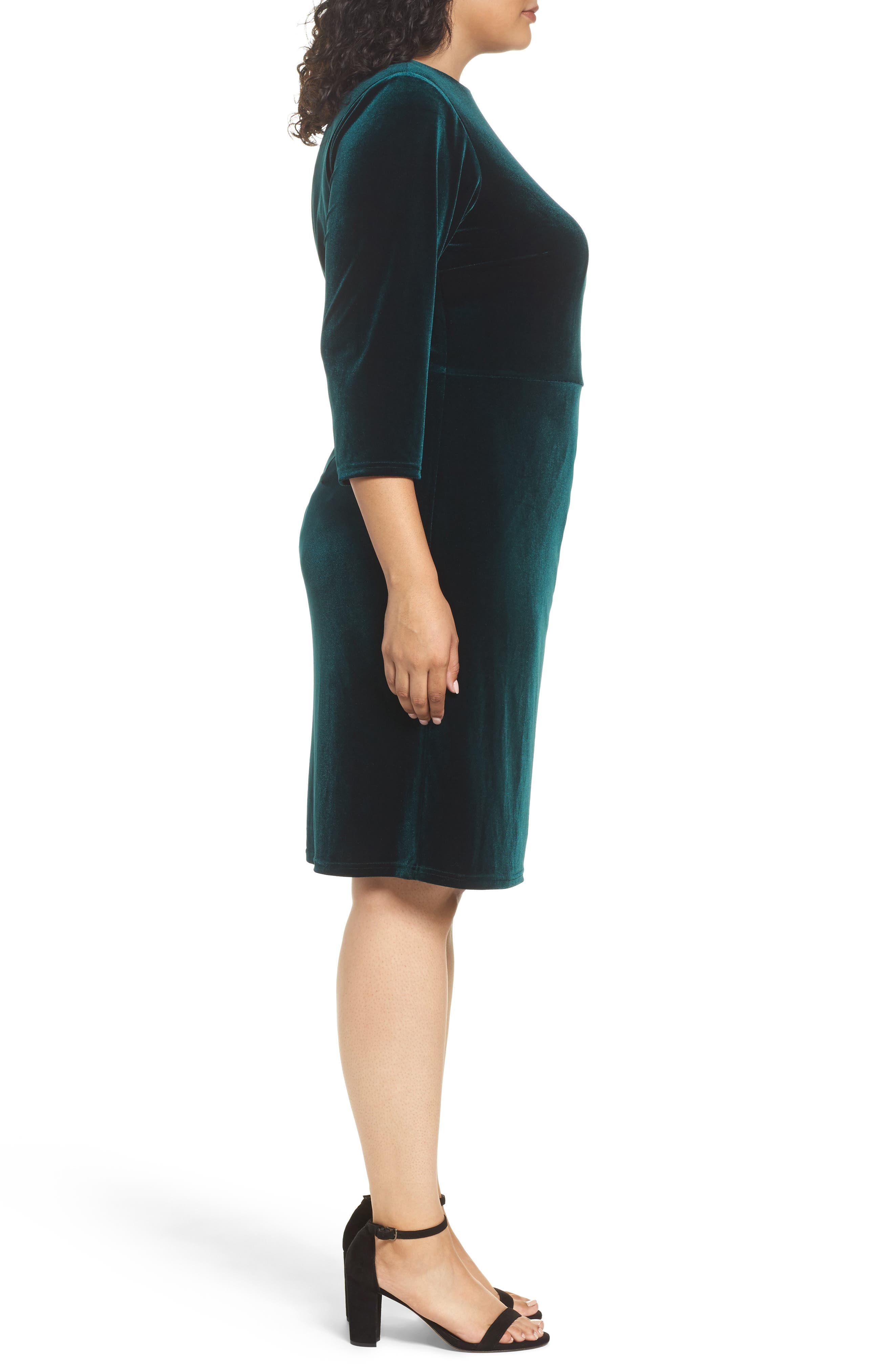 Stretch Velvet Sheath Dress,                             Alternate thumbnail 3, color,                             Hunter