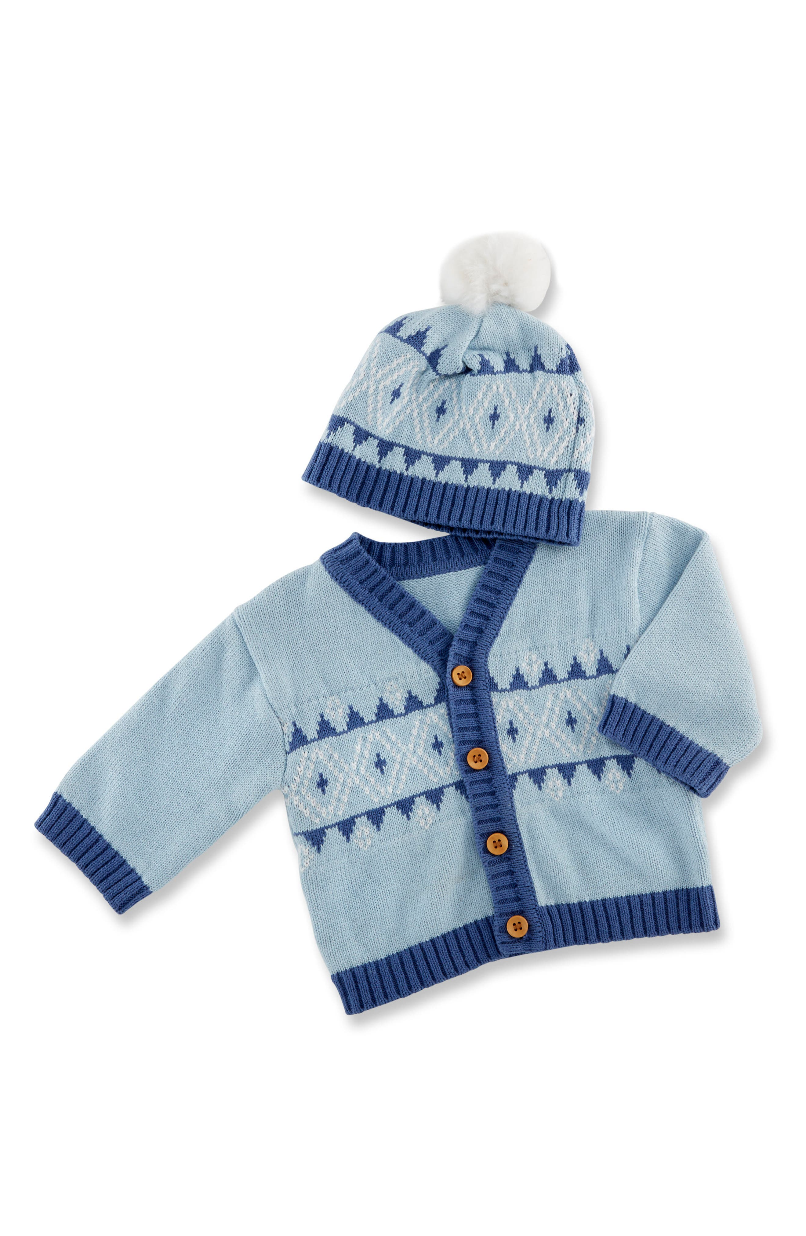 Main Image - Baby Aspen Fairy Tale Forest Cardigan & Hat Set (Baby Boys)