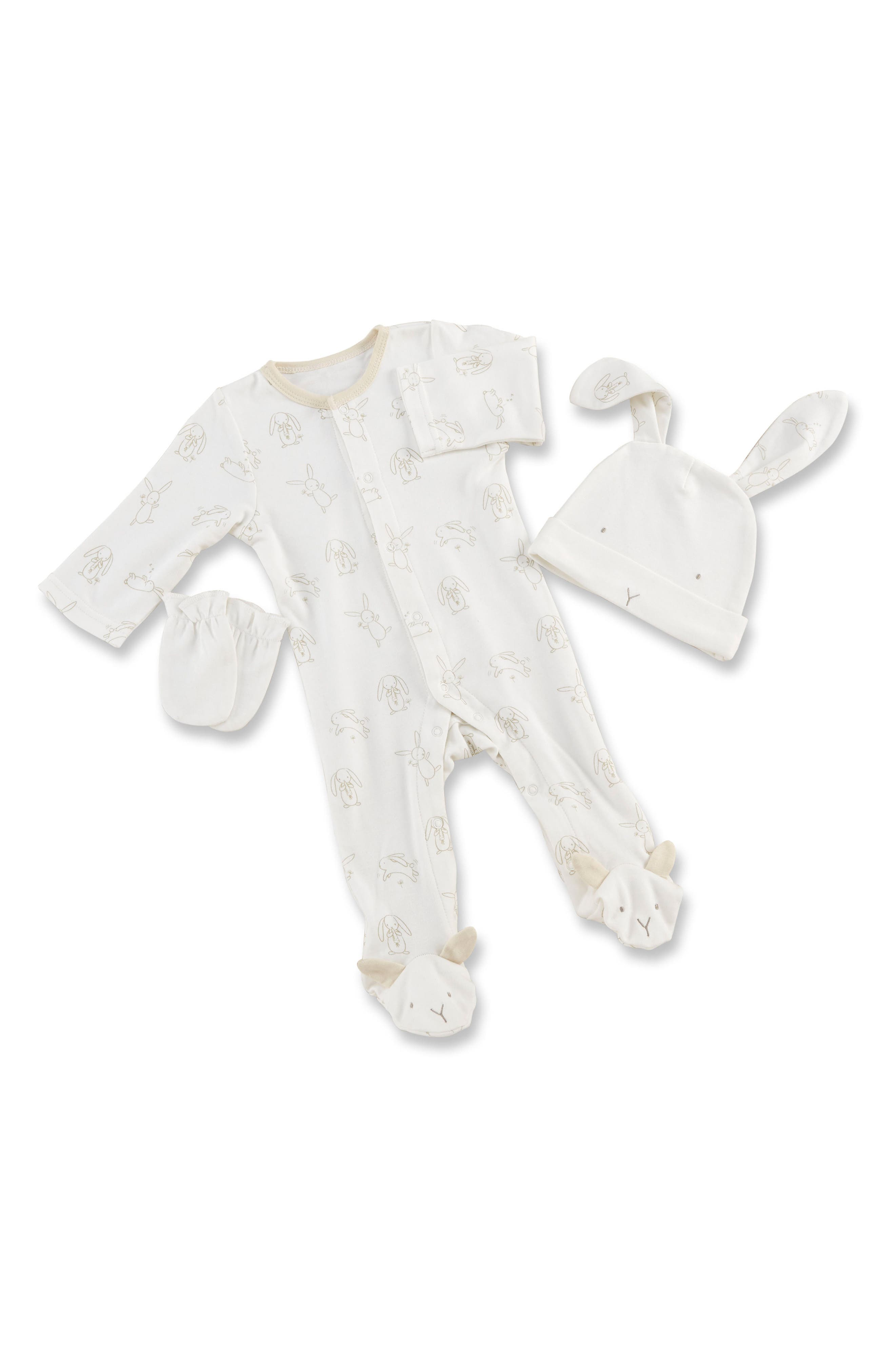 Nature Baby Footie, Hat & Mittens Set,                         Main,                         color, Beige And Grey