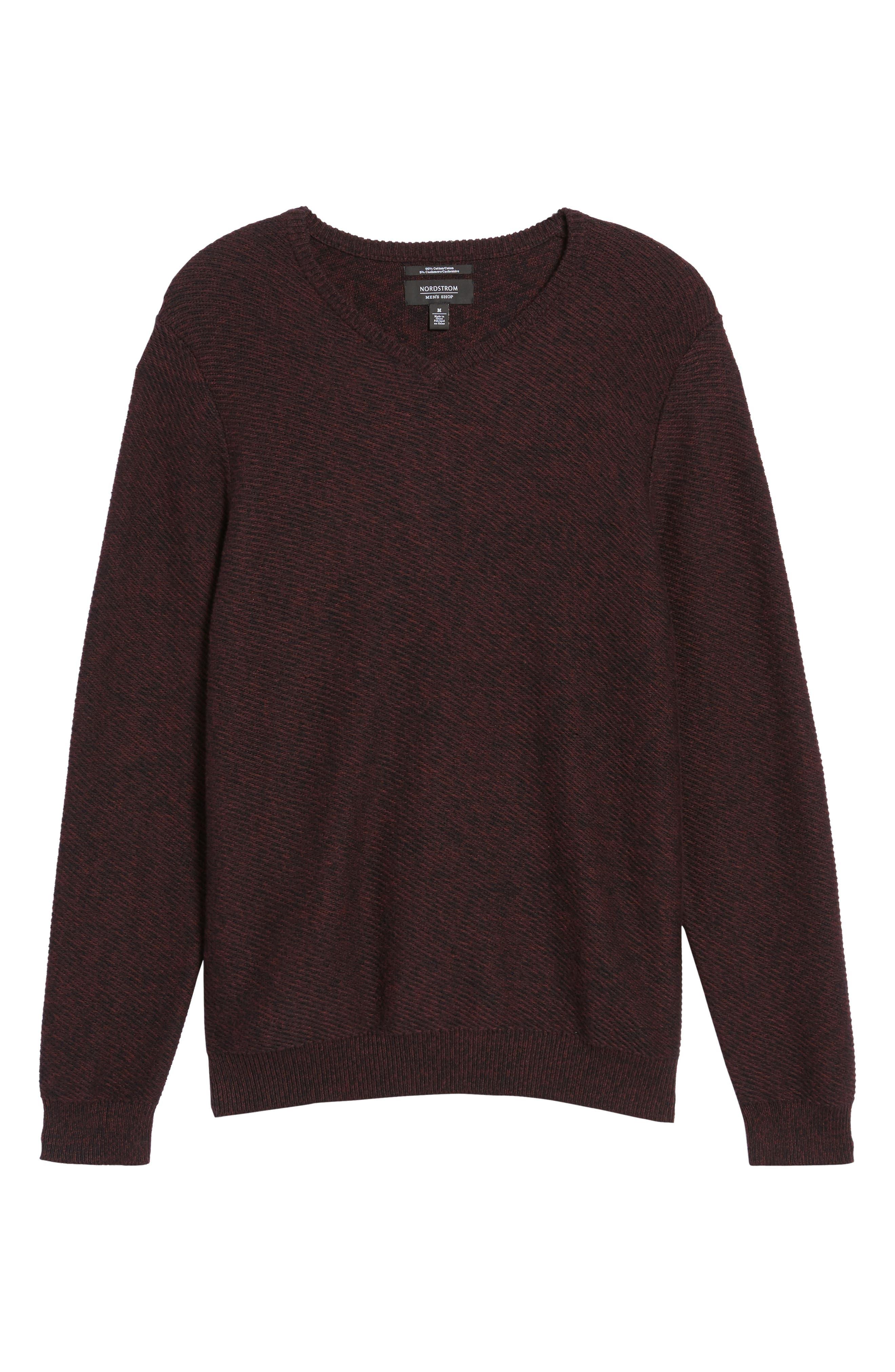 Alternate Image 6  - Nordstrom Men's Shop Cotton & Cashmere V-Neck Sweater