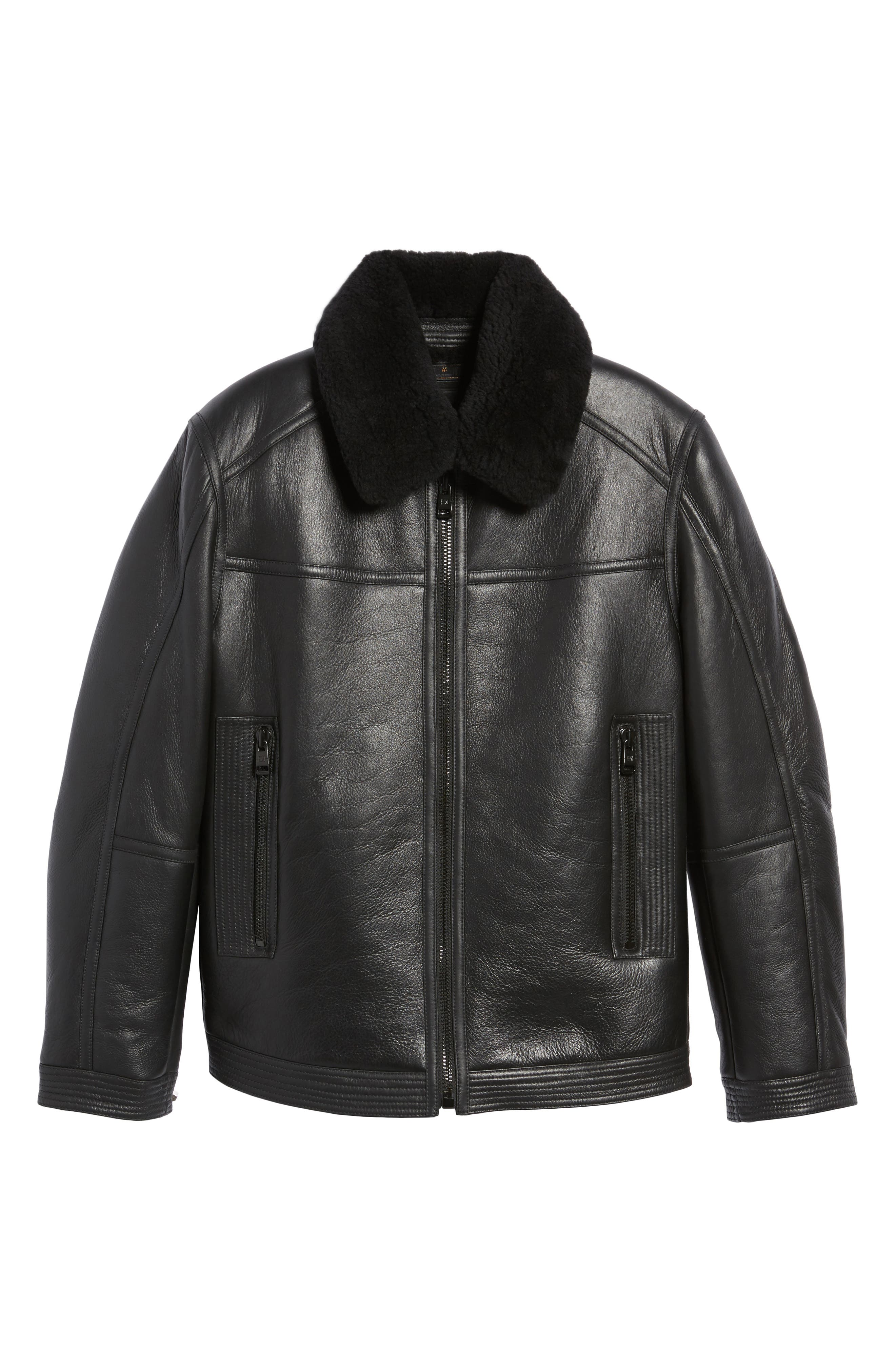 Leather Jacket with Genuine Shearling Collar,                             Alternate thumbnail 6, color,                             Black