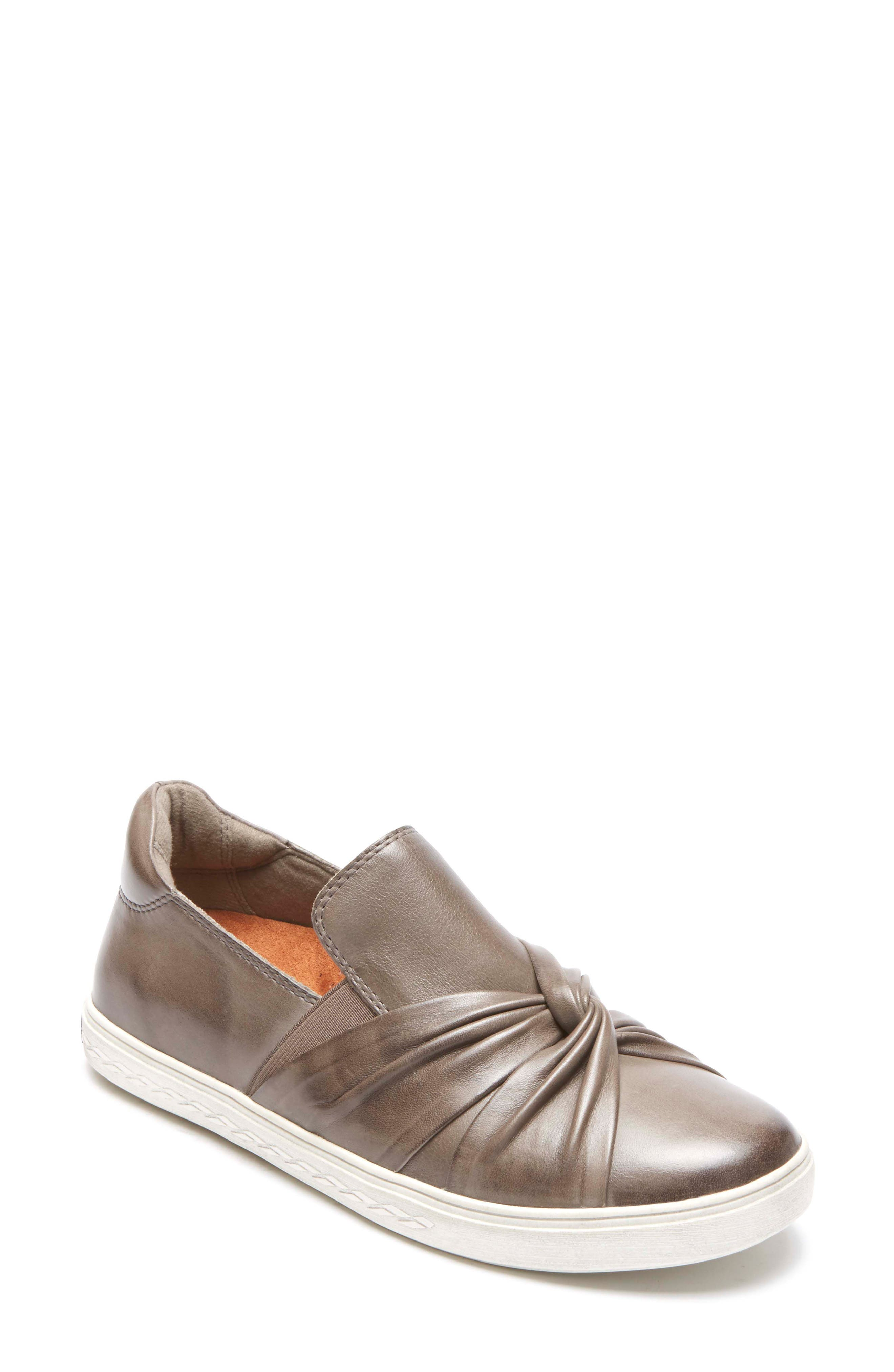 Willa Bow Slip-On,                         Main,                         color, Grey Leather