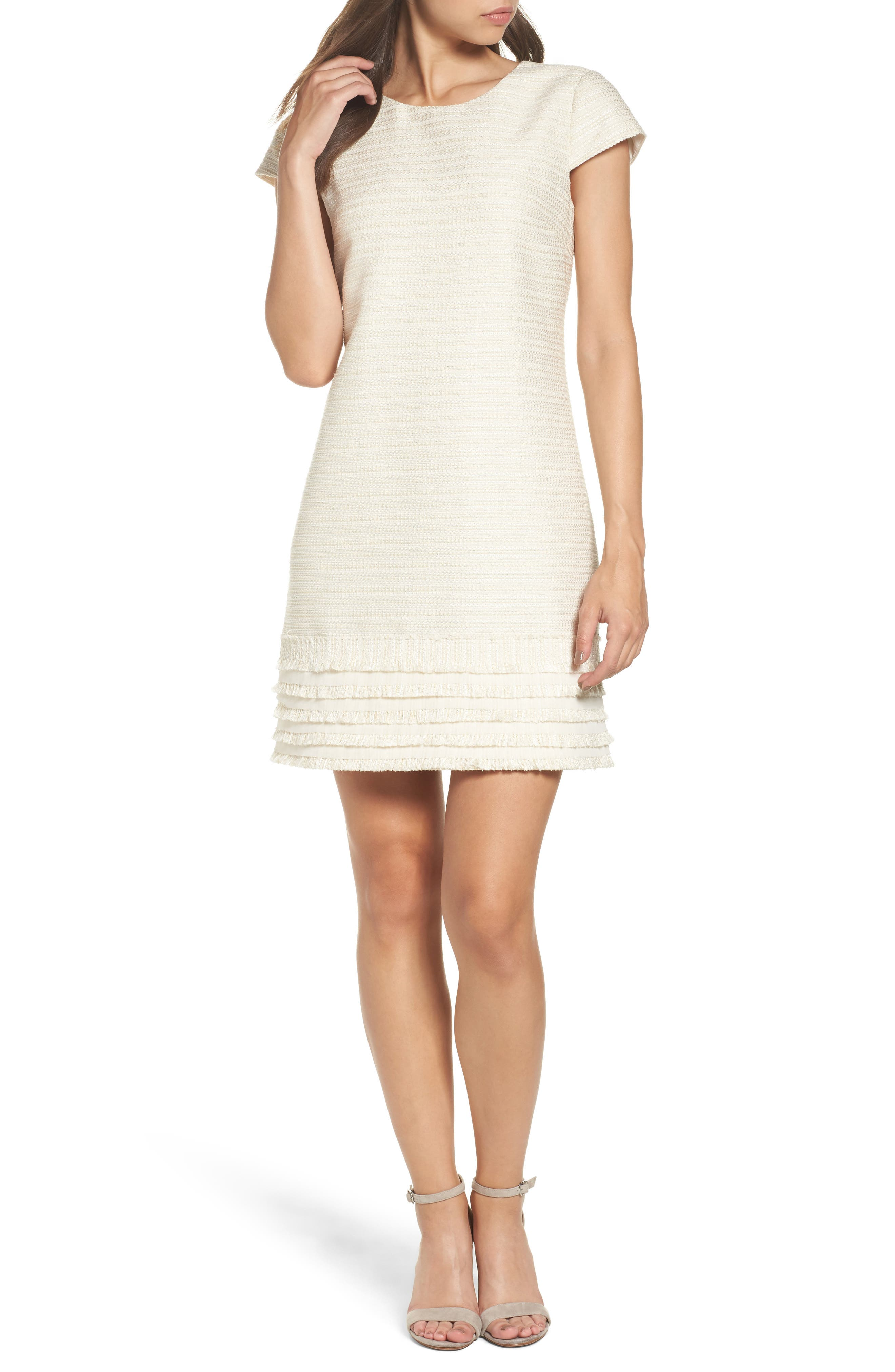 Fringed Tweed Shift Dress,                         Main,                         color, Ivory Gold