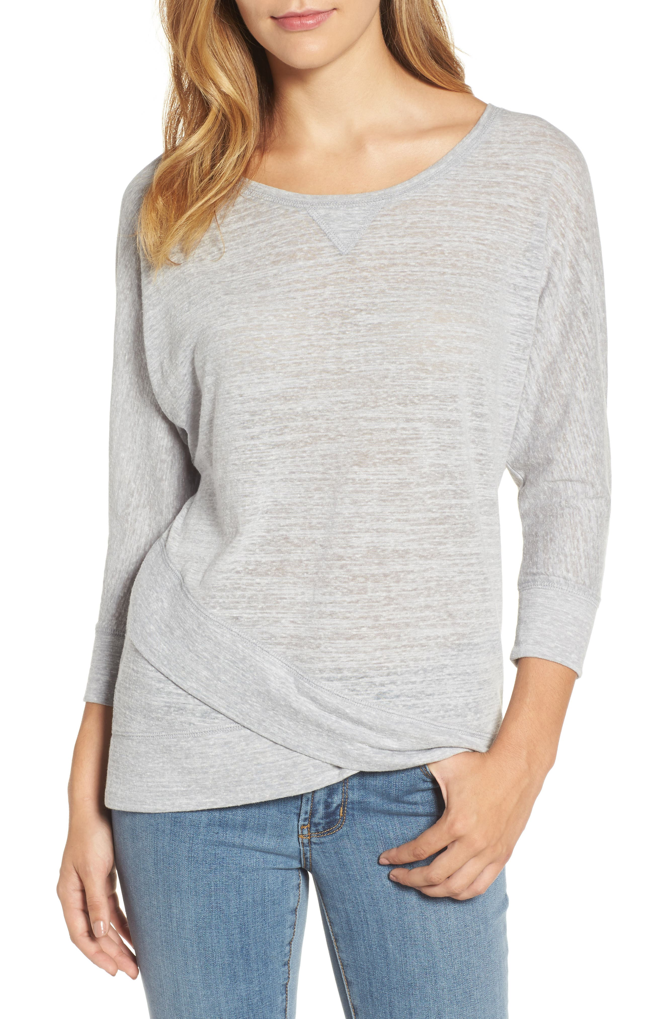 Alternate Image 1 Selected - Caslon® Crossover Front Tee (Regular & Petite)