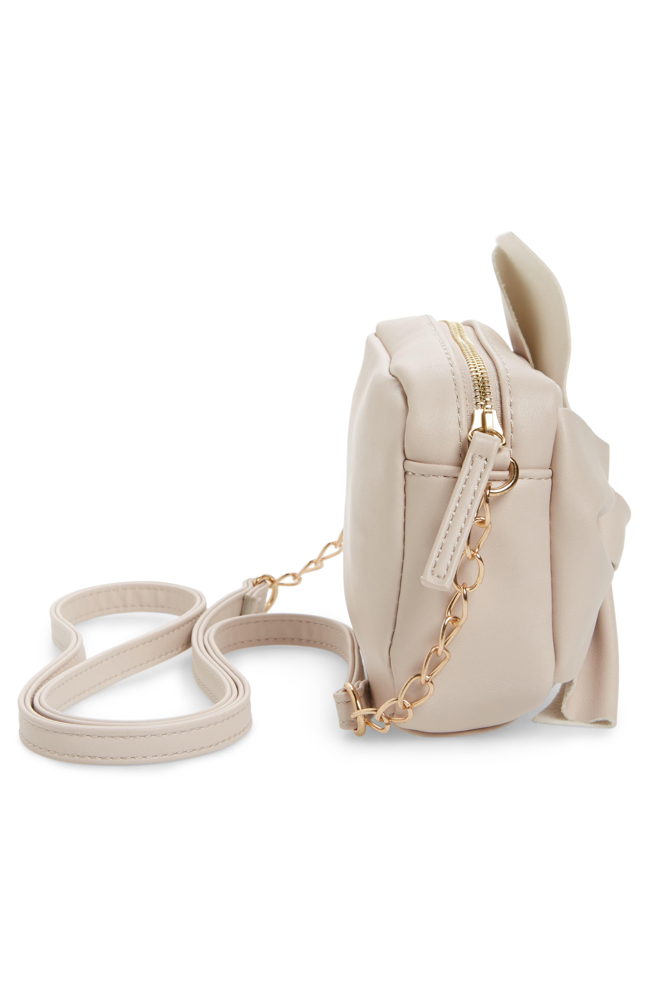 Knotted Bow Faux Leather Crossbody Bag,                             Alternate thumbnail 3, color,                             Blush