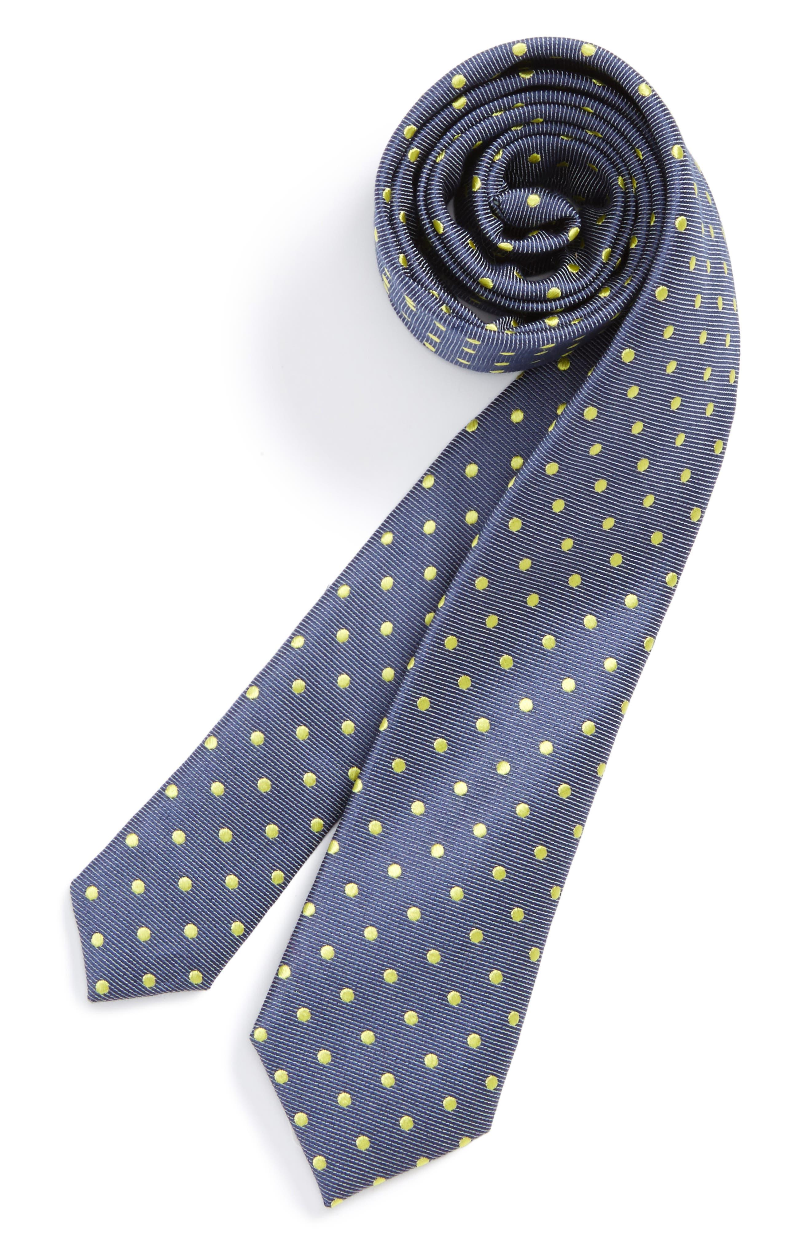 Dot Cotton & Silk Tie,                         Main,                         color, Yellow