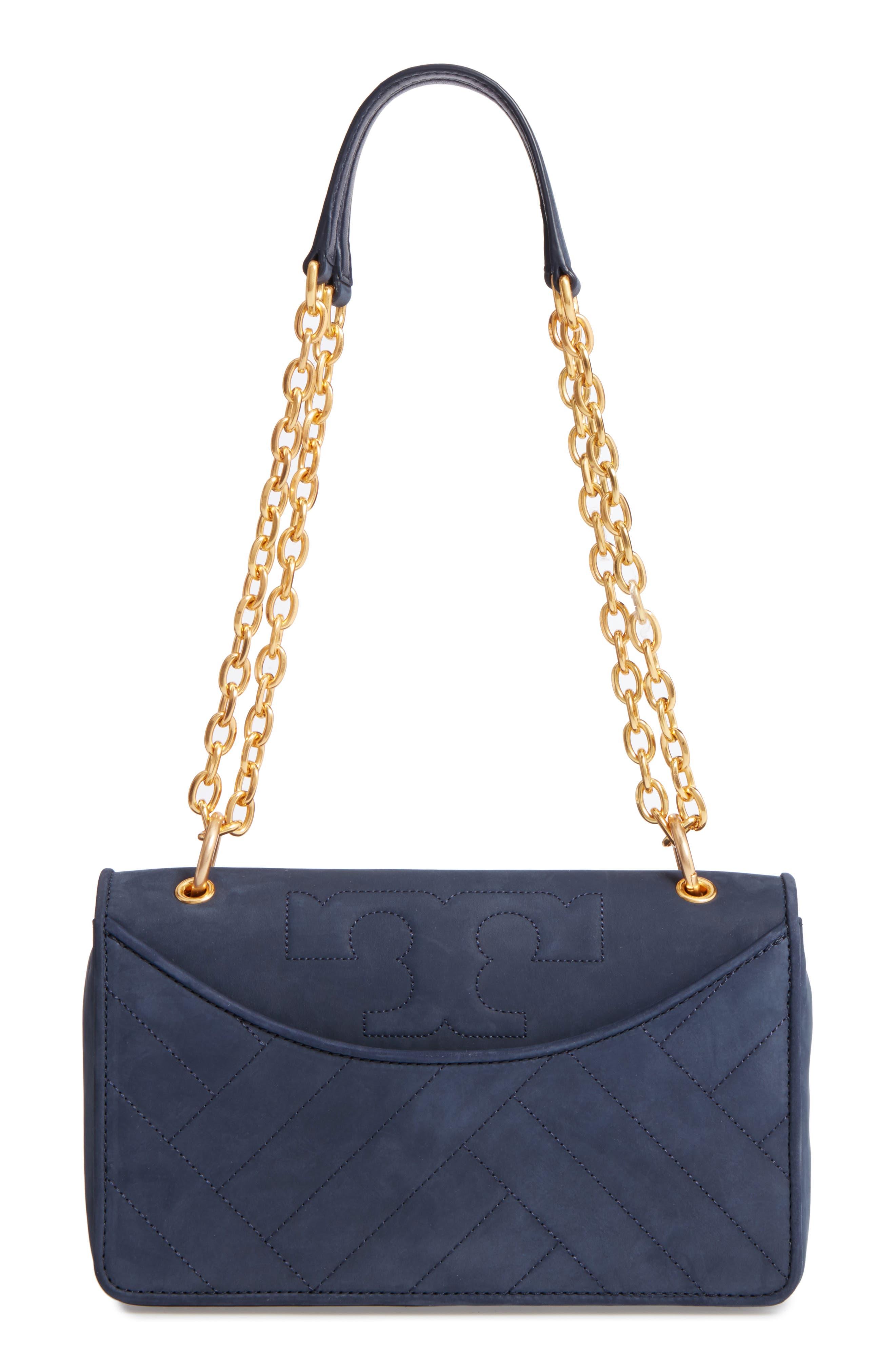 Alexa Leather Shoulder Bag,                         Main,                         color, Royal Navy