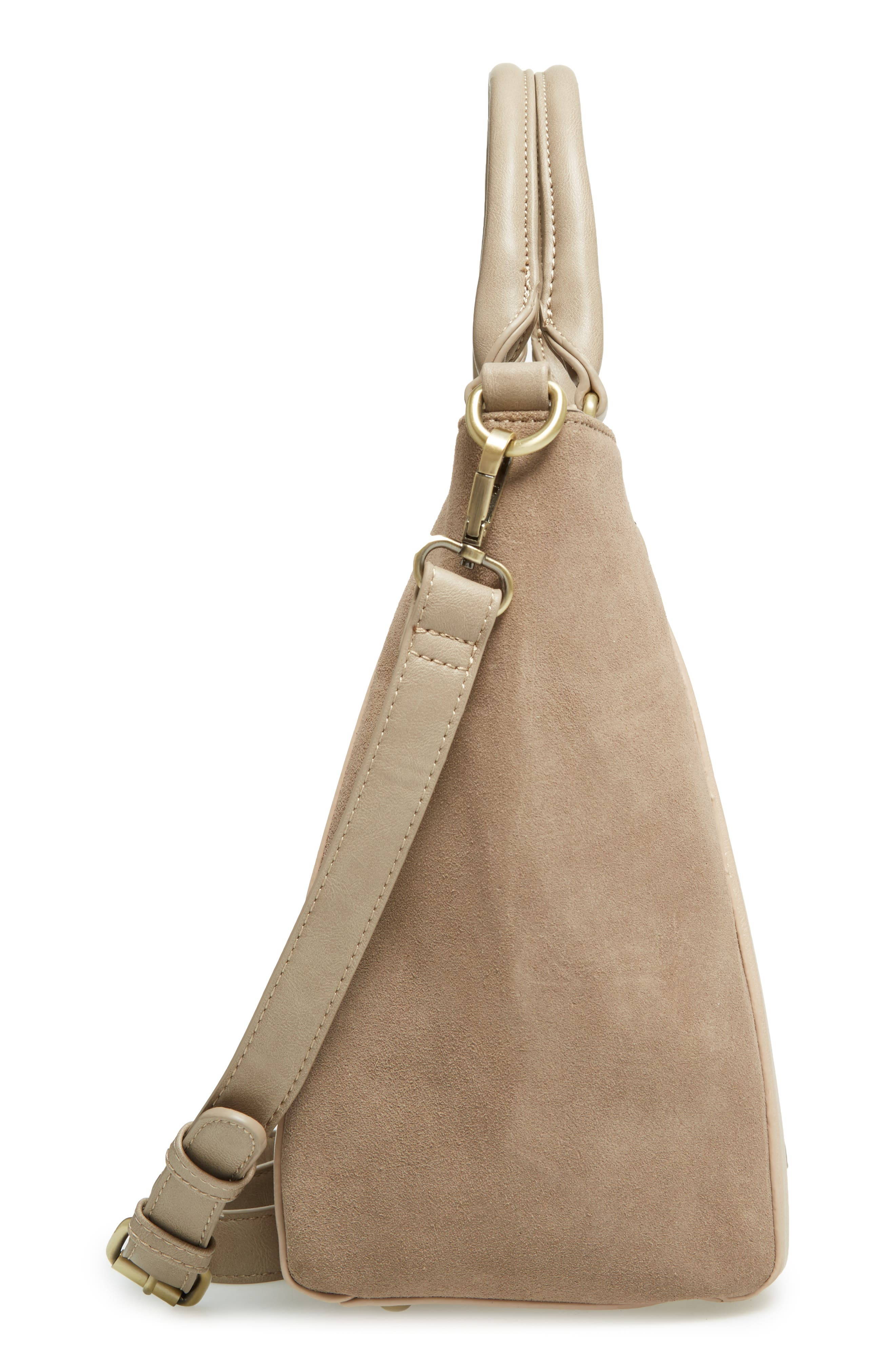 'Jensen' Mixed Media Tote,                             Alternate thumbnail 5, color,                             Taupe Combo