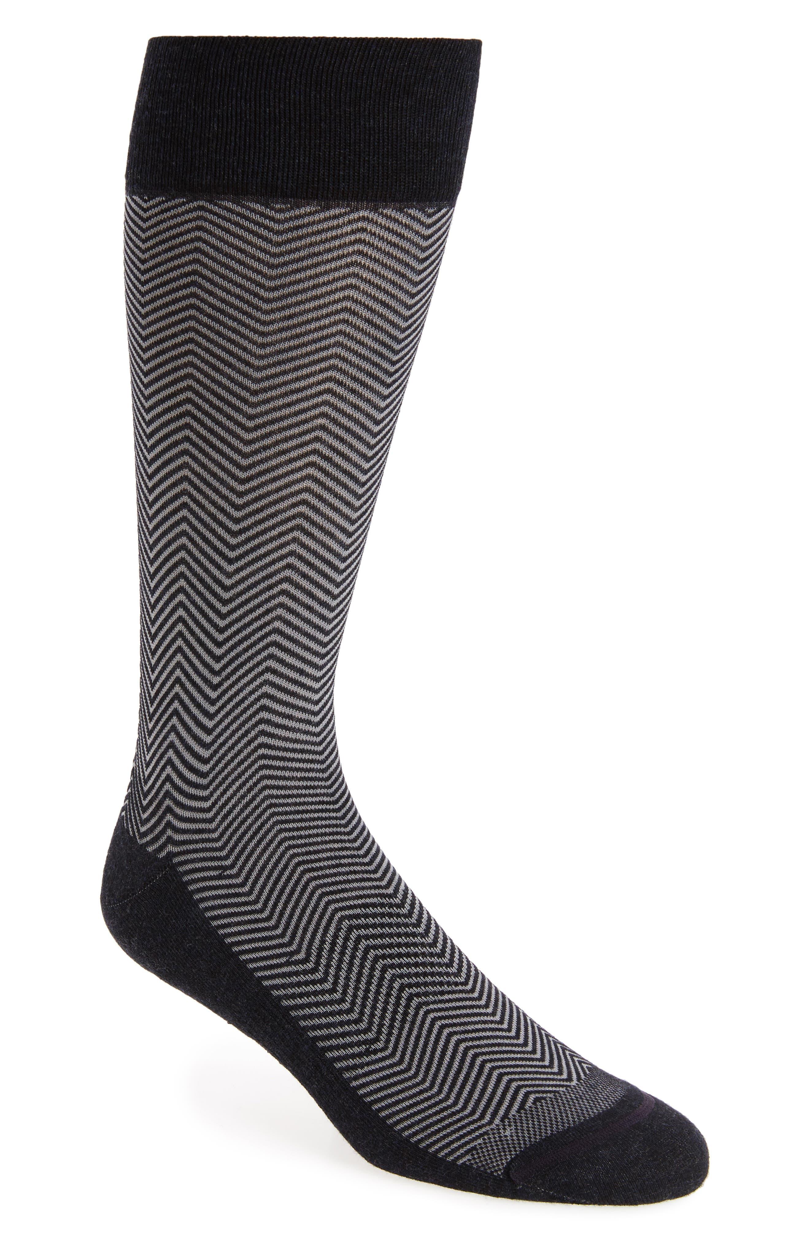 Chevron Socks,                         Main,                         color, Navy