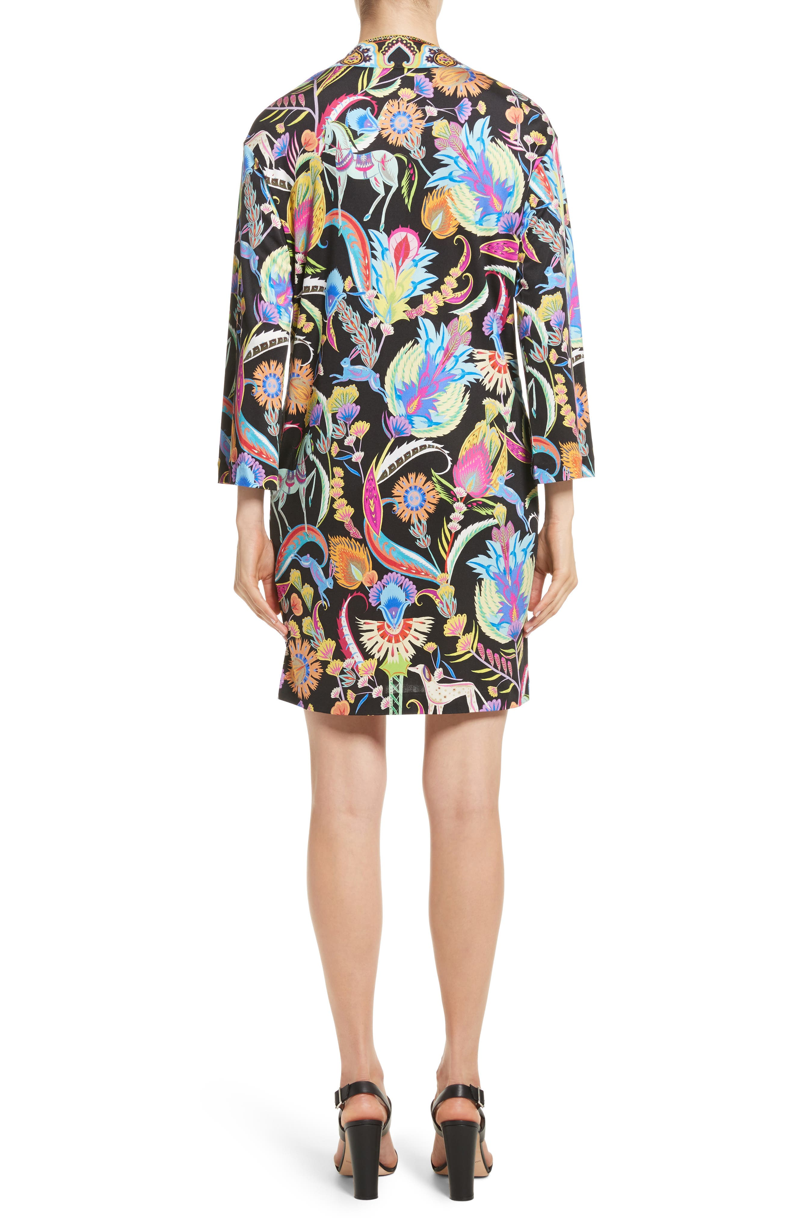 Floral Print Silk Shift Dress,                             Alternate thumbnail 2, color,                             Black