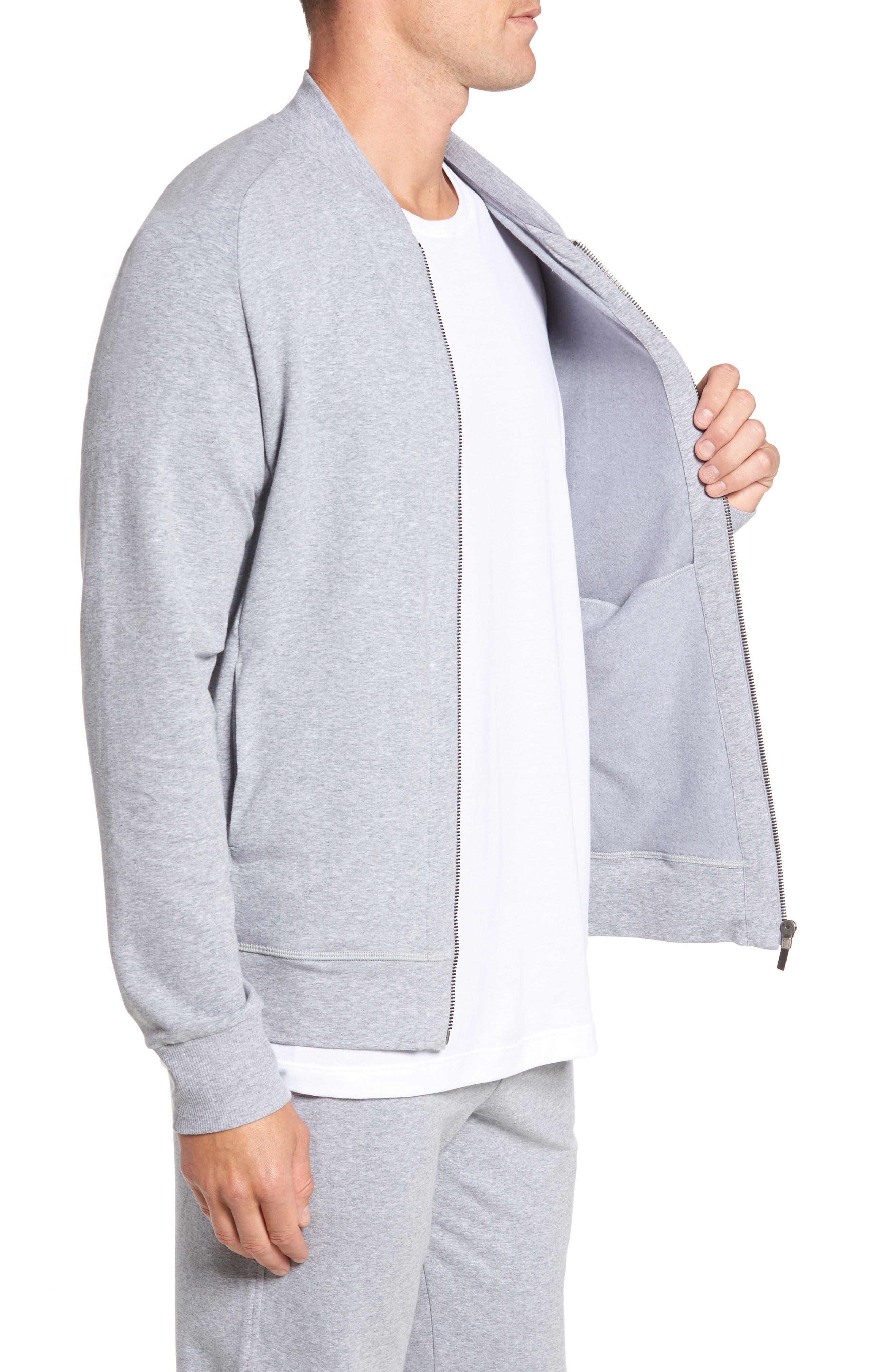 Living Zip Bomber Jacket,                             Alternate thumbnail 3, color,                             Grey Melange