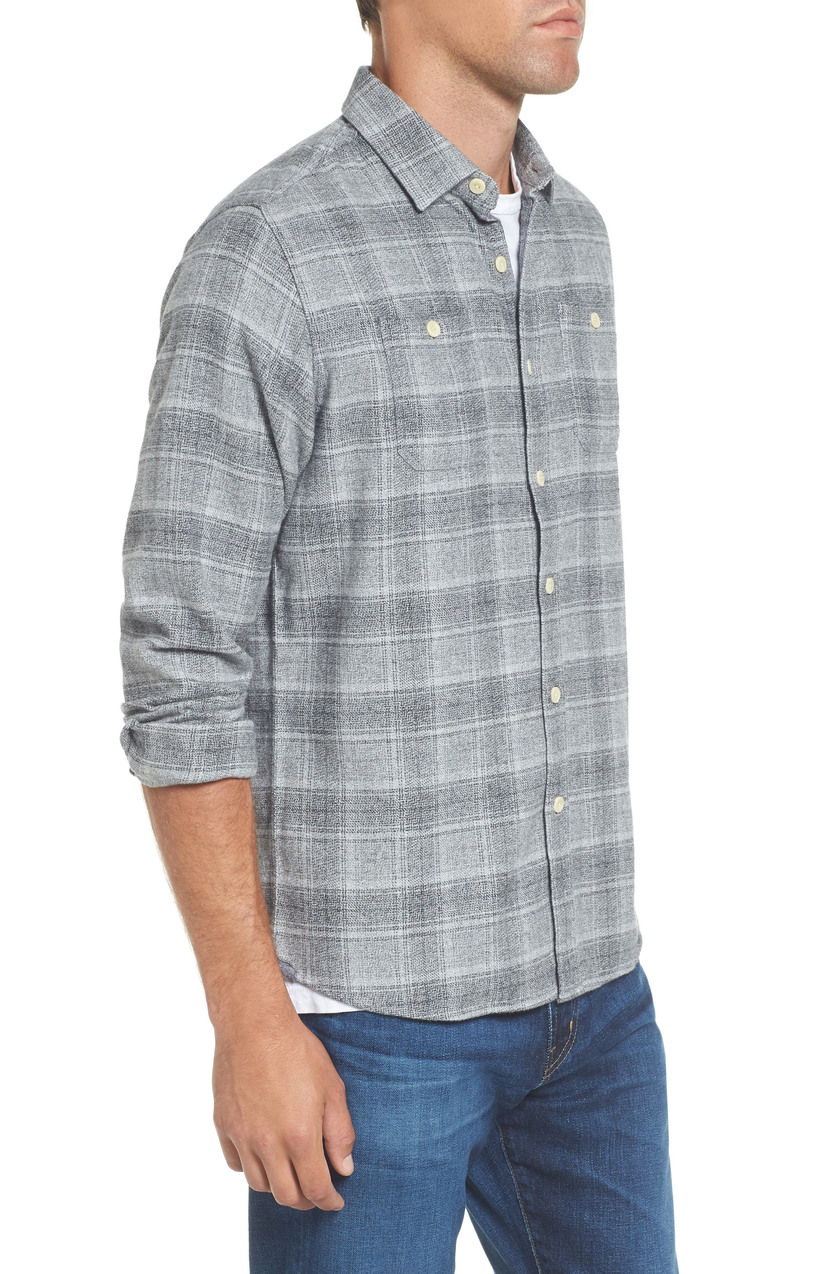 Charles Heritage Modern Fit Flannel Sport Shirt,                             Alternate thumbnail 3, color,                             Gray Charcoal