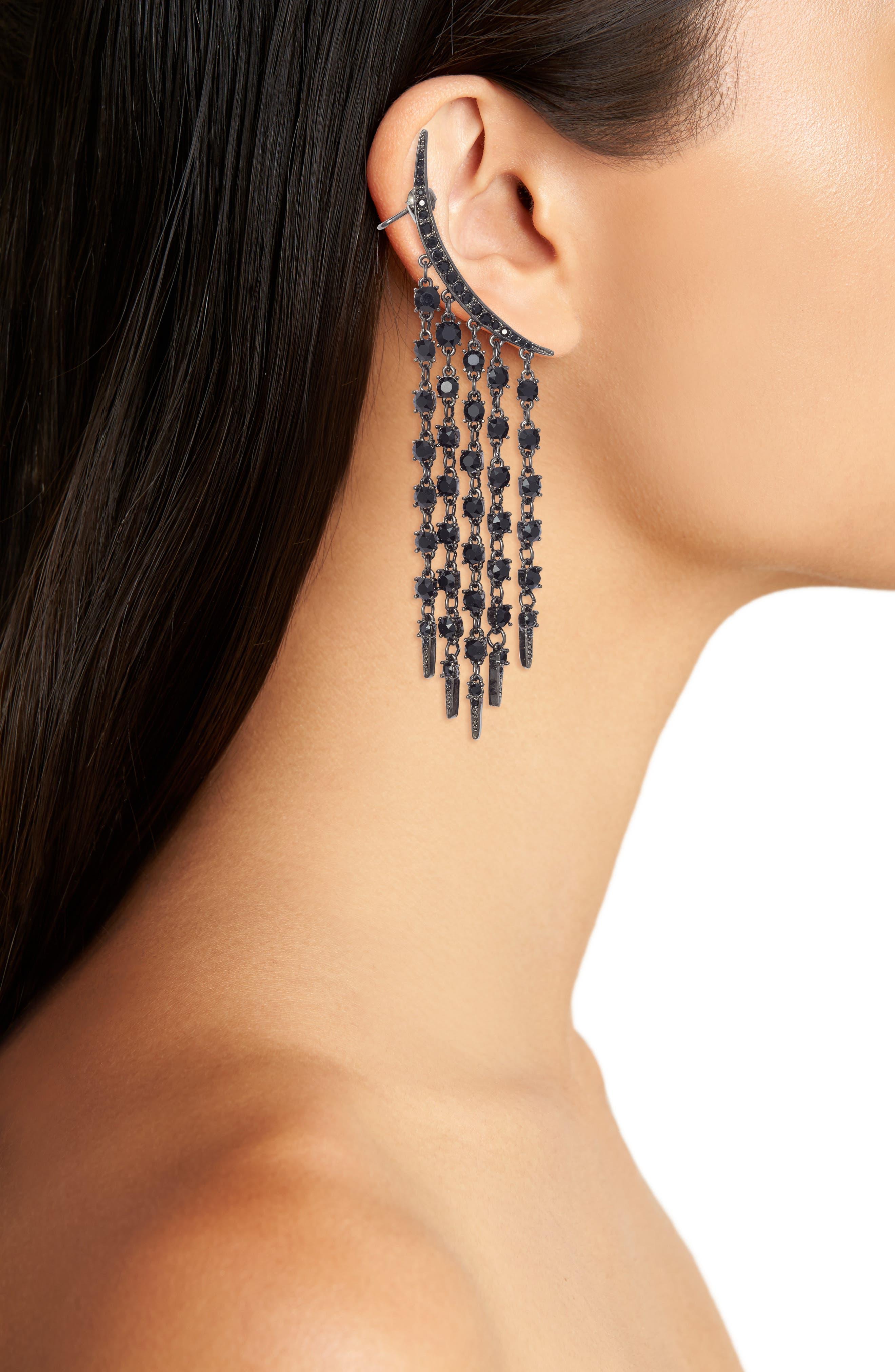 Tendril Crystal Earrings,                             Alternate thumbnail 2, color,                             Black Jet