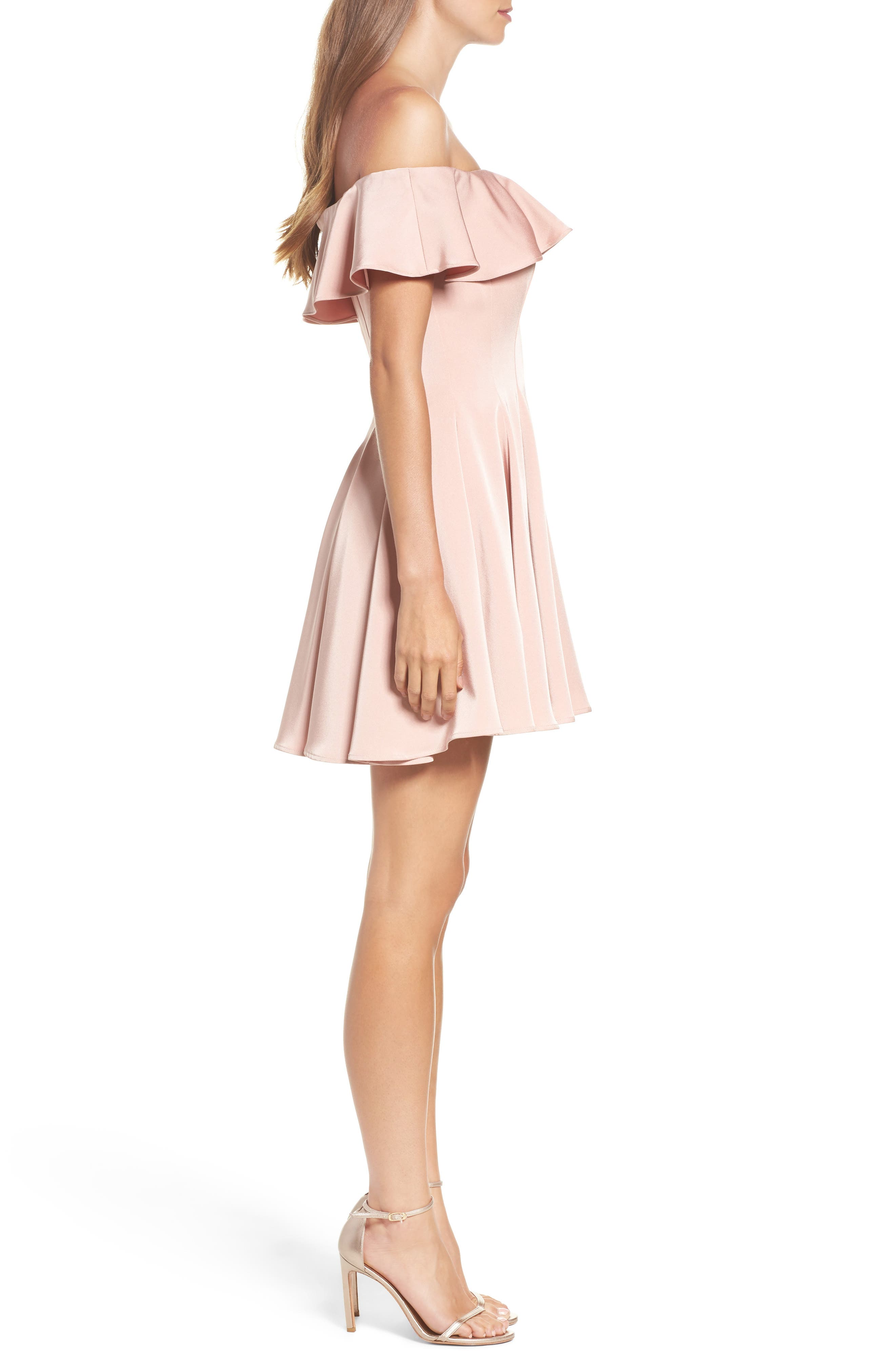 Ruffle Off the Shoulder Fit & Flare Dress,                             Alternate thumbnail 3, color,                             Blush