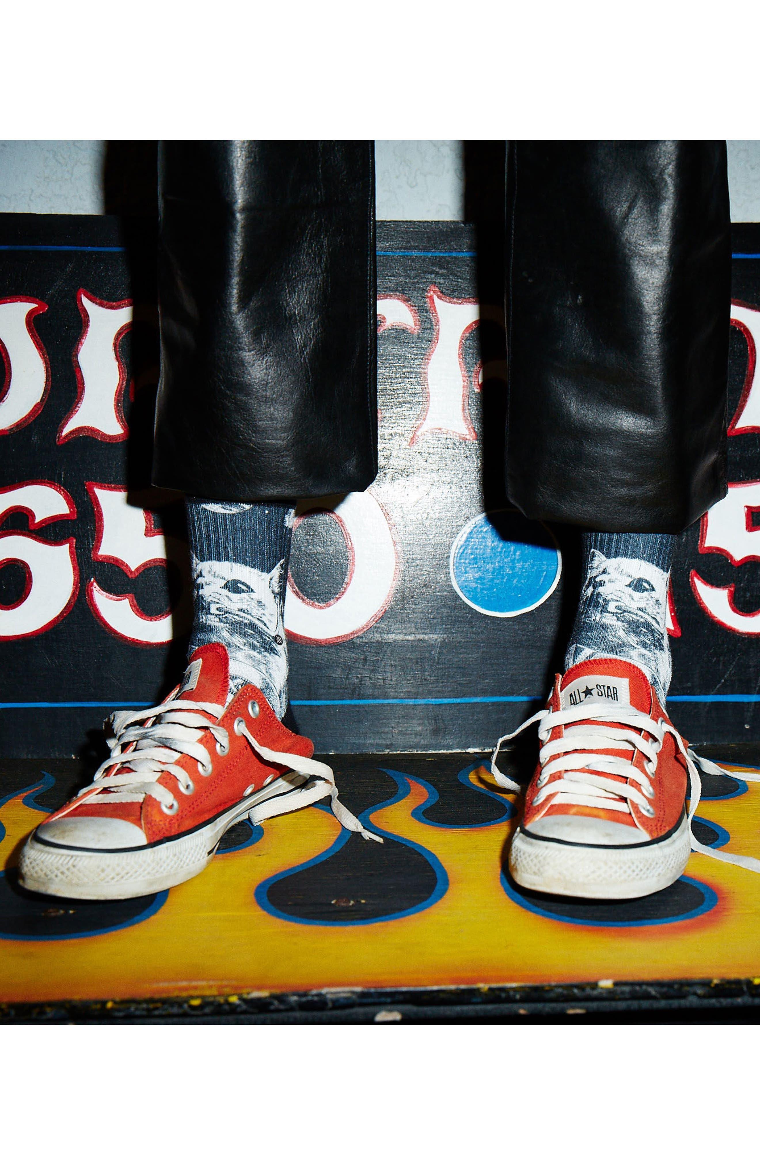 Punker Skunker Crew Socks,                             Alternate thumbnail 3, color,                             Black Multi