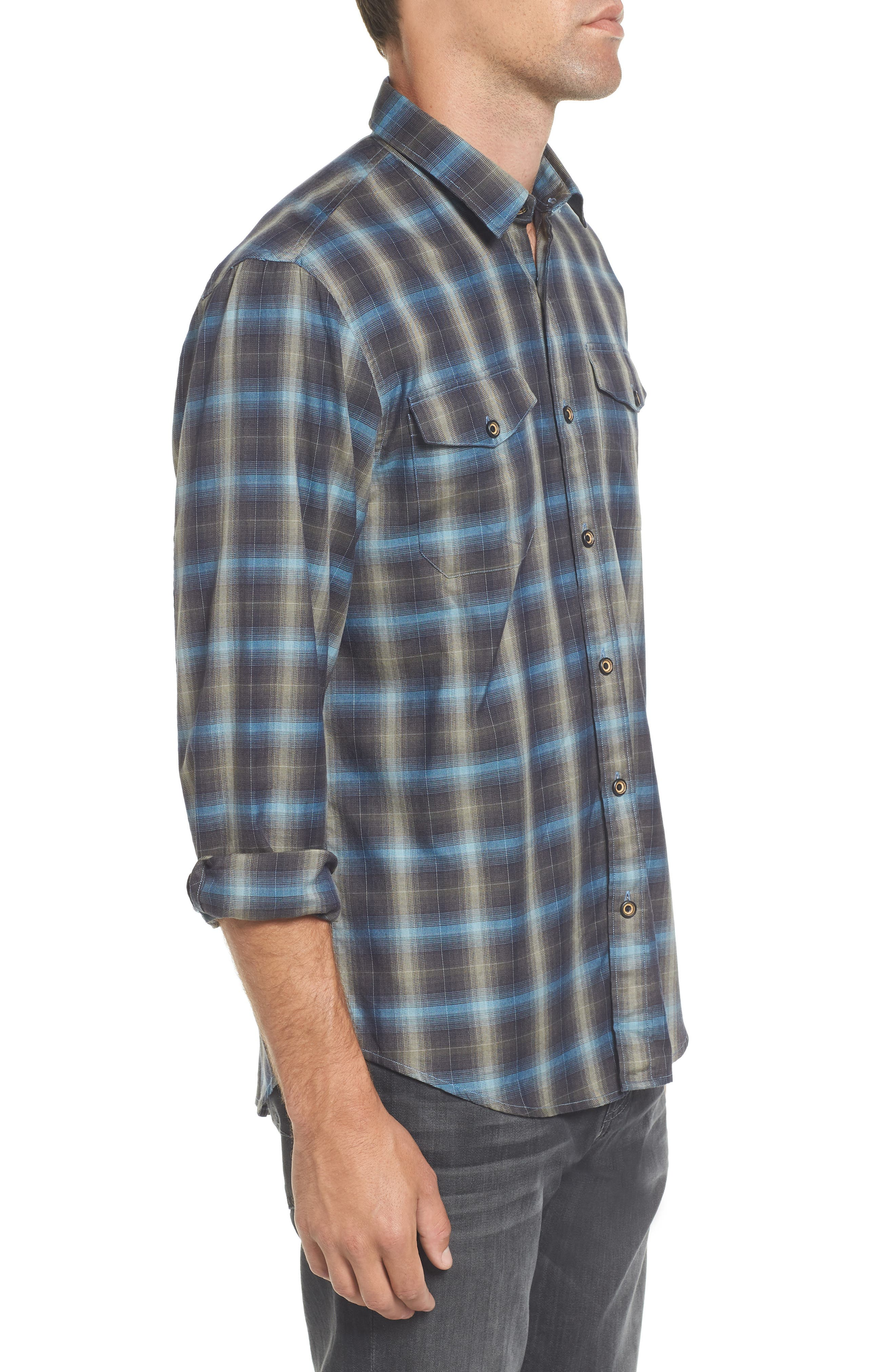 Walnut Plaid Garment Washed Flannel Shirt,                             Alternate thumbnail 3, color,                             Forest