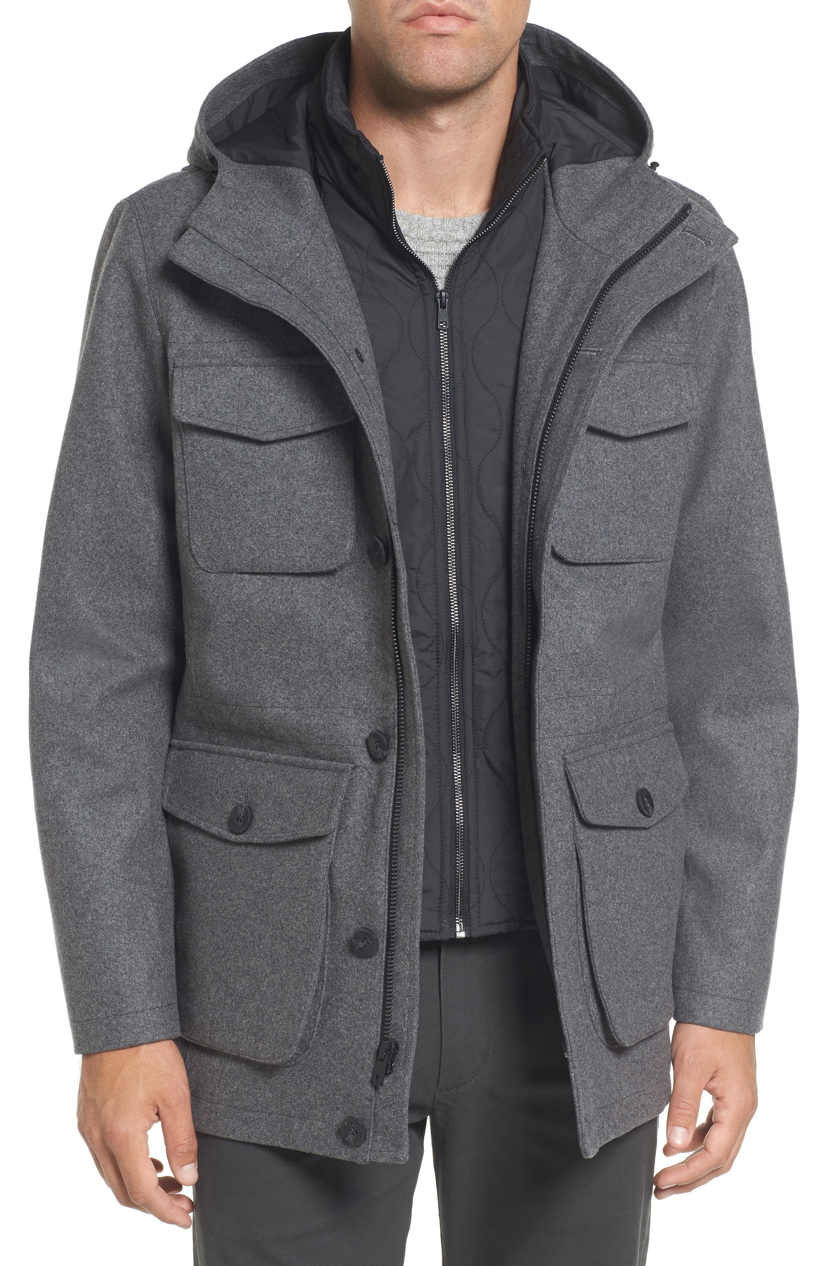Alternate Image 4  - Vince Camuto Hooded Jacket with Removable Bib