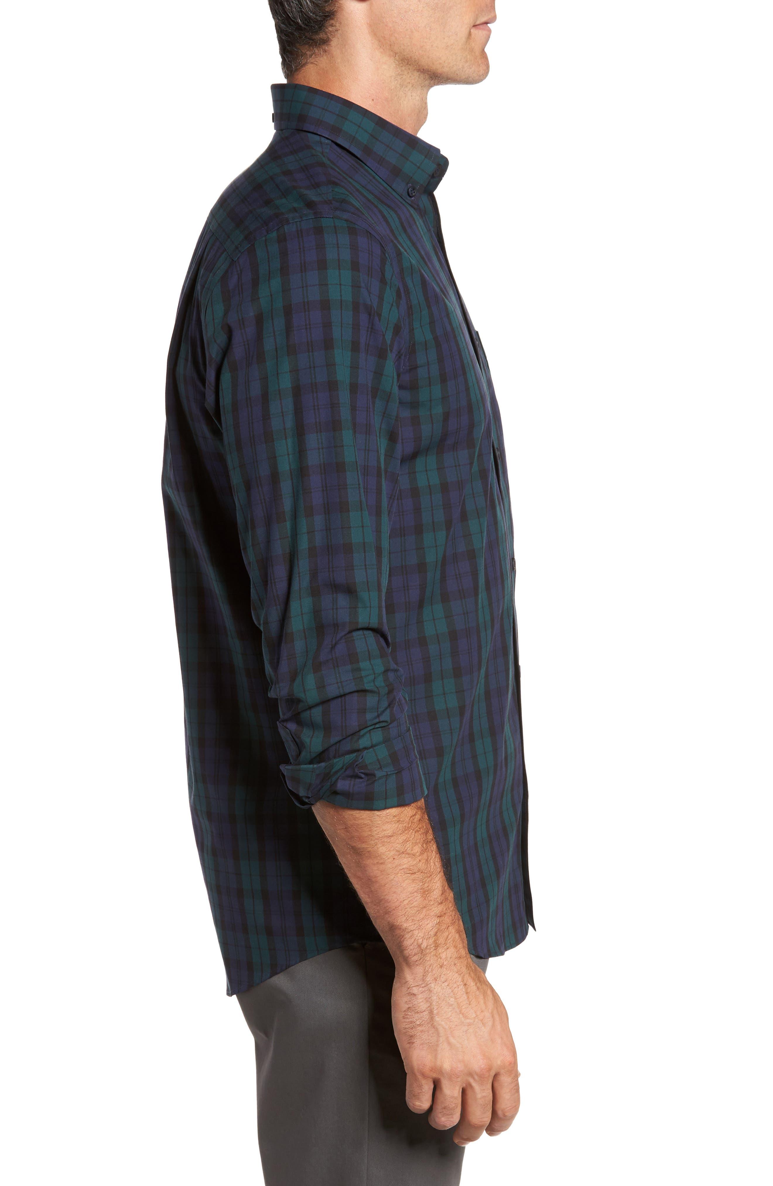 Regular Fit Non-Iron Plaid Sport Shirt,                             Alternate thumbnail 3, color,                             Green Bug Navy Tartan
