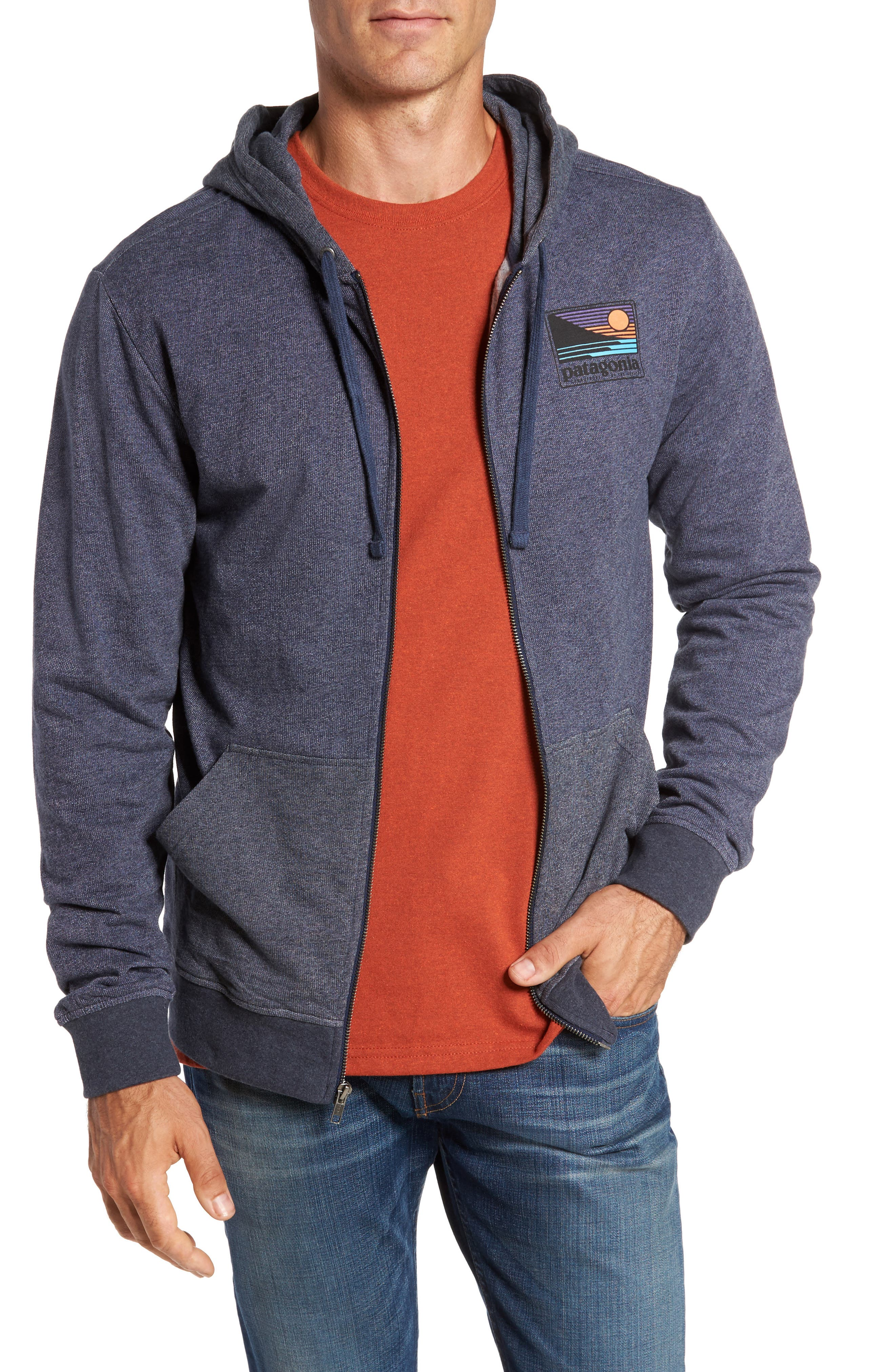 Up & Out Lightweight Zip Hoodie,                         Main,                         color, Navy Blue