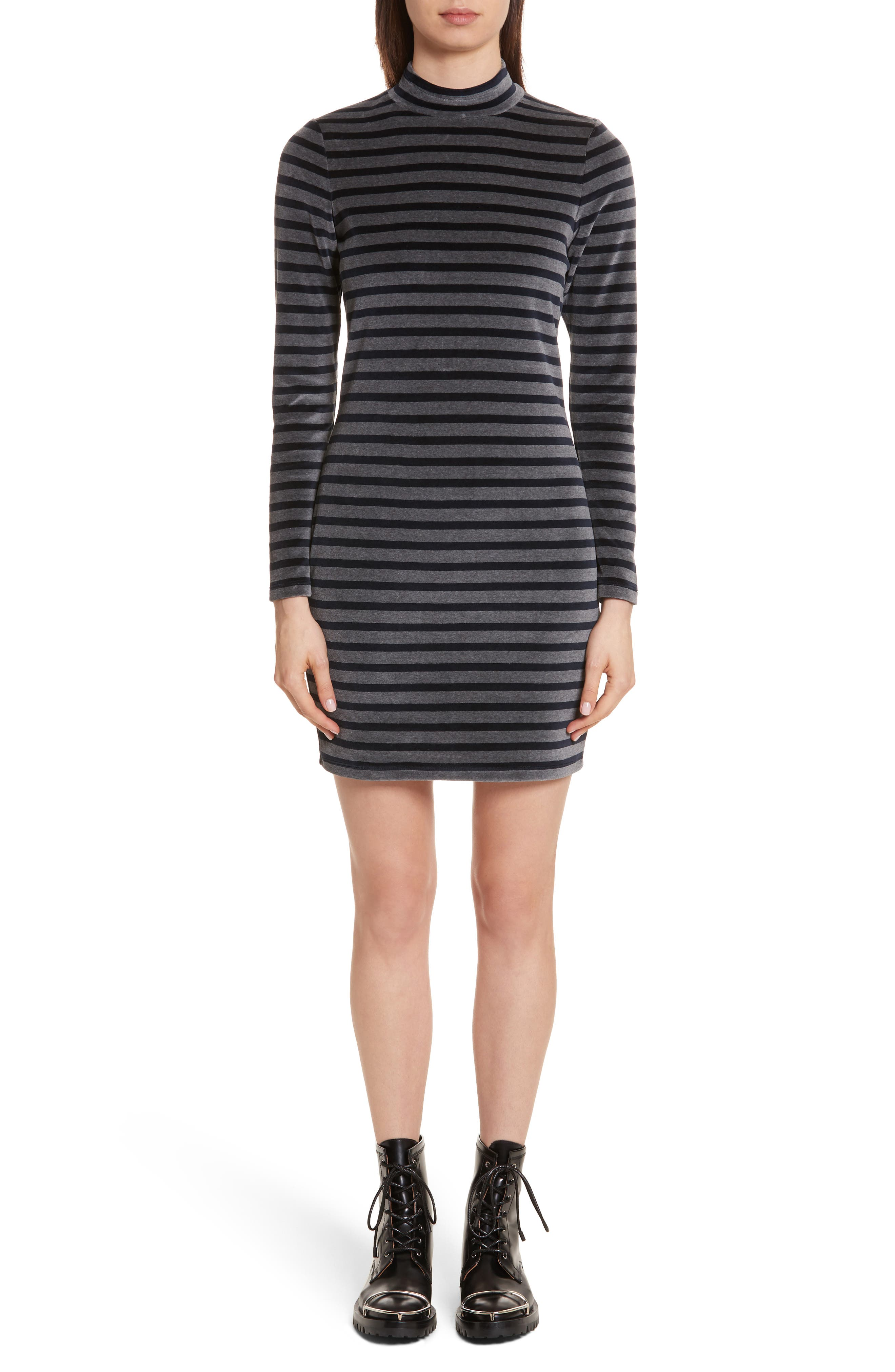 T by Alexander Wang Stripe Velour Turtleneck Dress