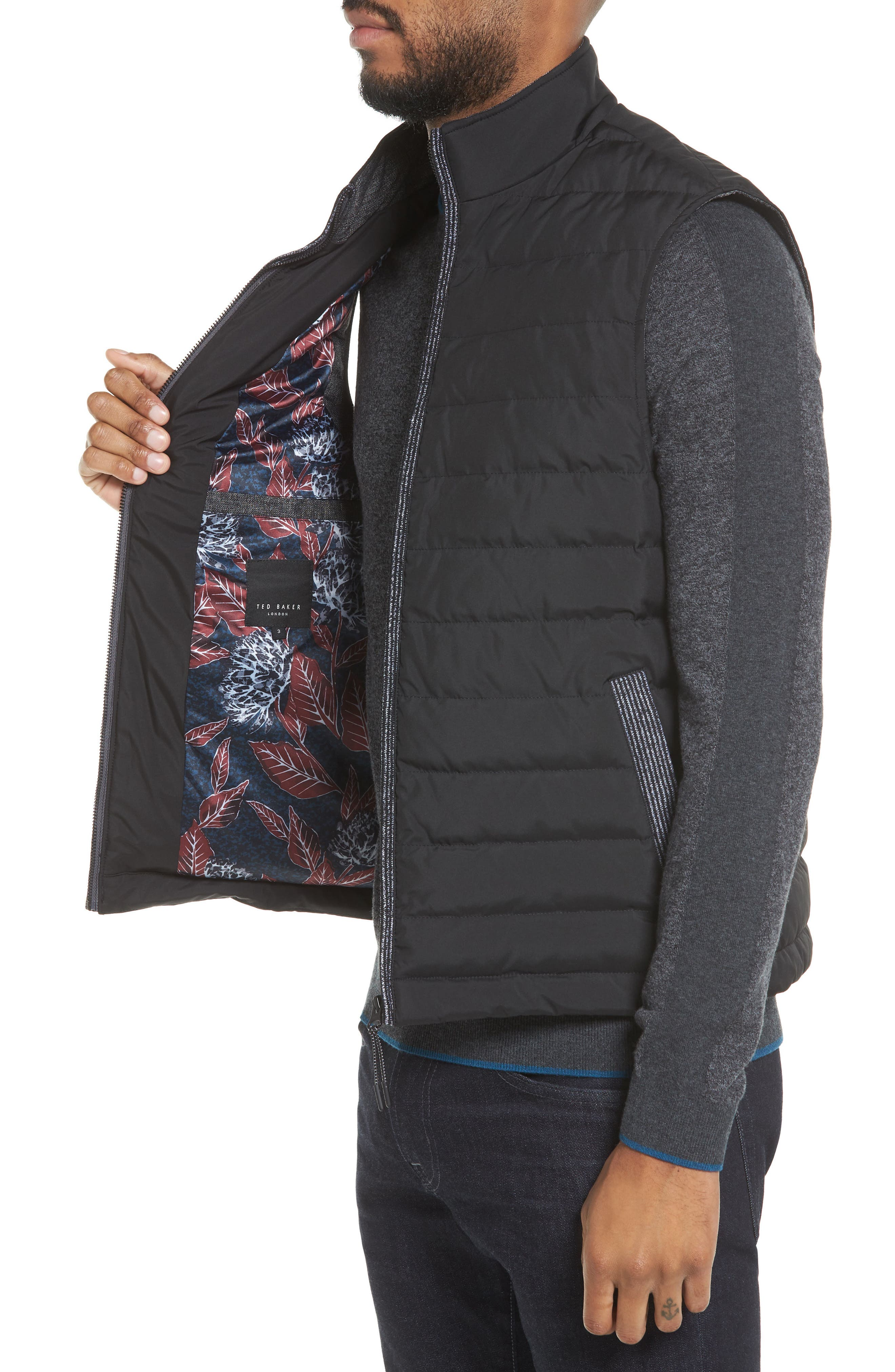 Jozeph Quilted Down Vest,                             Alternate thumbnail 4, color,                             Black