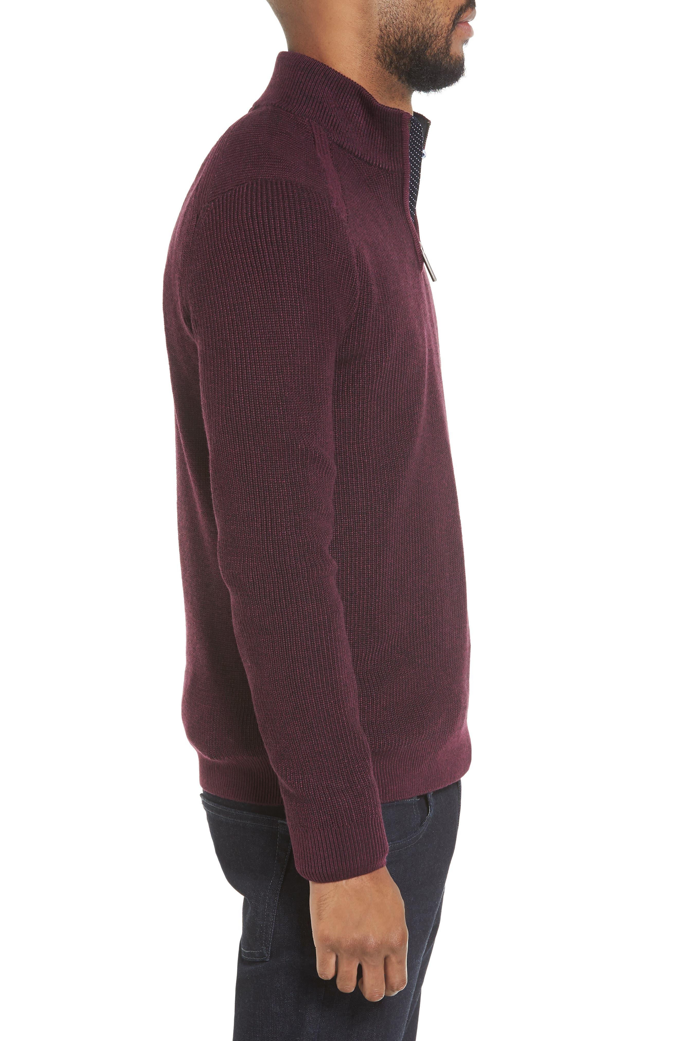 Stach Quarter Zip Sweater,                             Alternate thumbnail 3, color,                             Purple