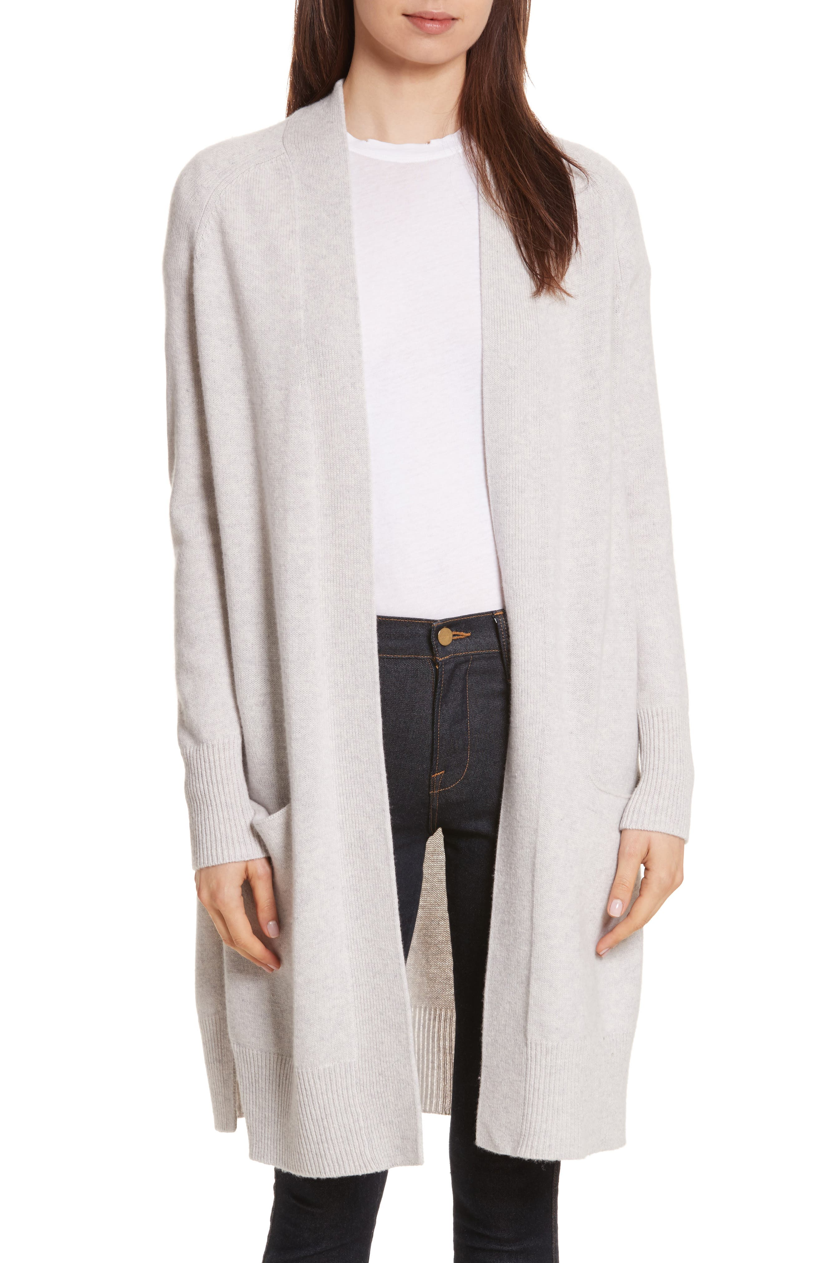 Cashmere Open Maxi Cardigan,                         Main,                         color, Sleet