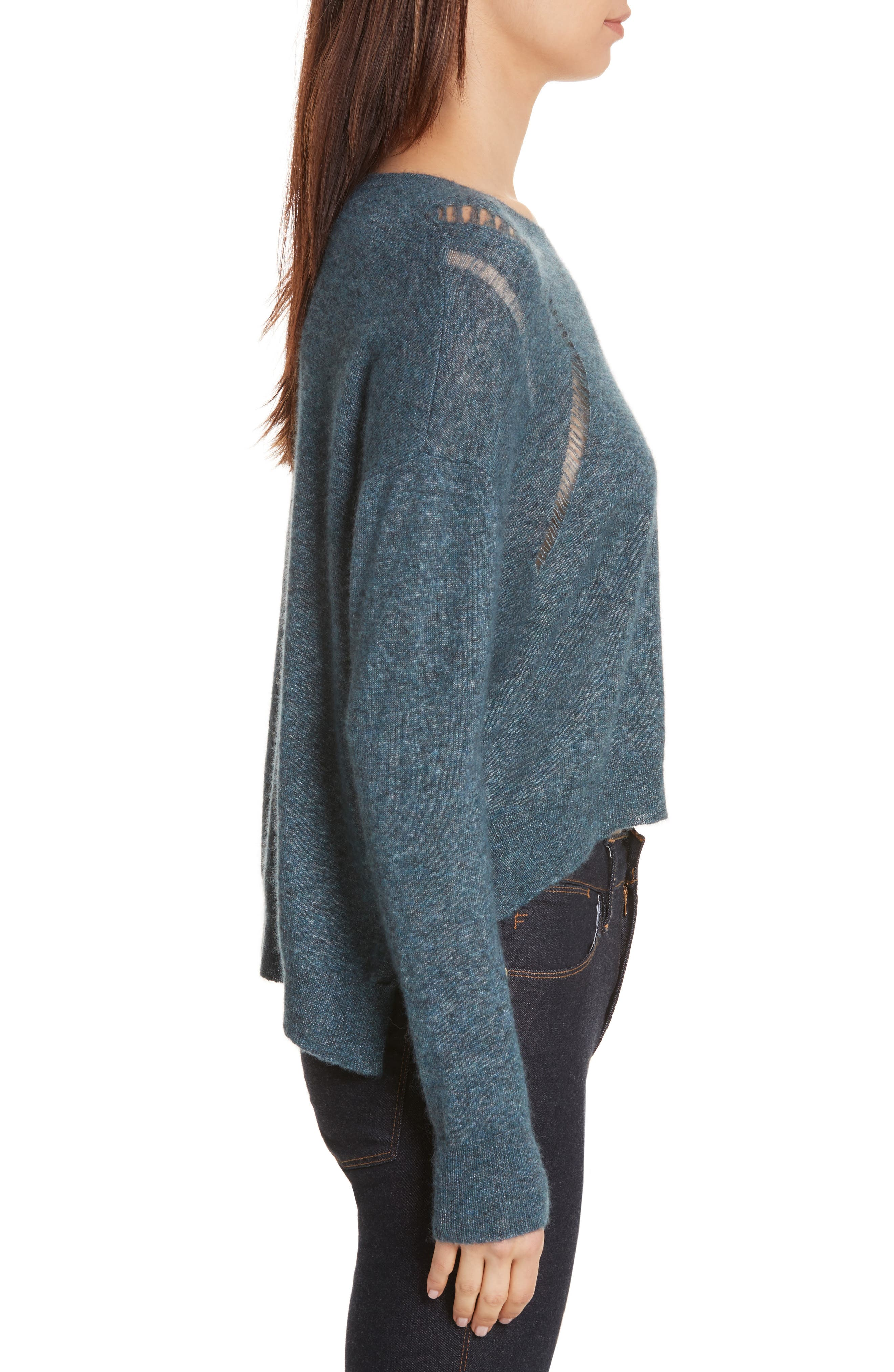 Boxy Ladder Stitch Cashmere & Silk Sweater,                             Alternate thumbnail 3, color,                             Marlin