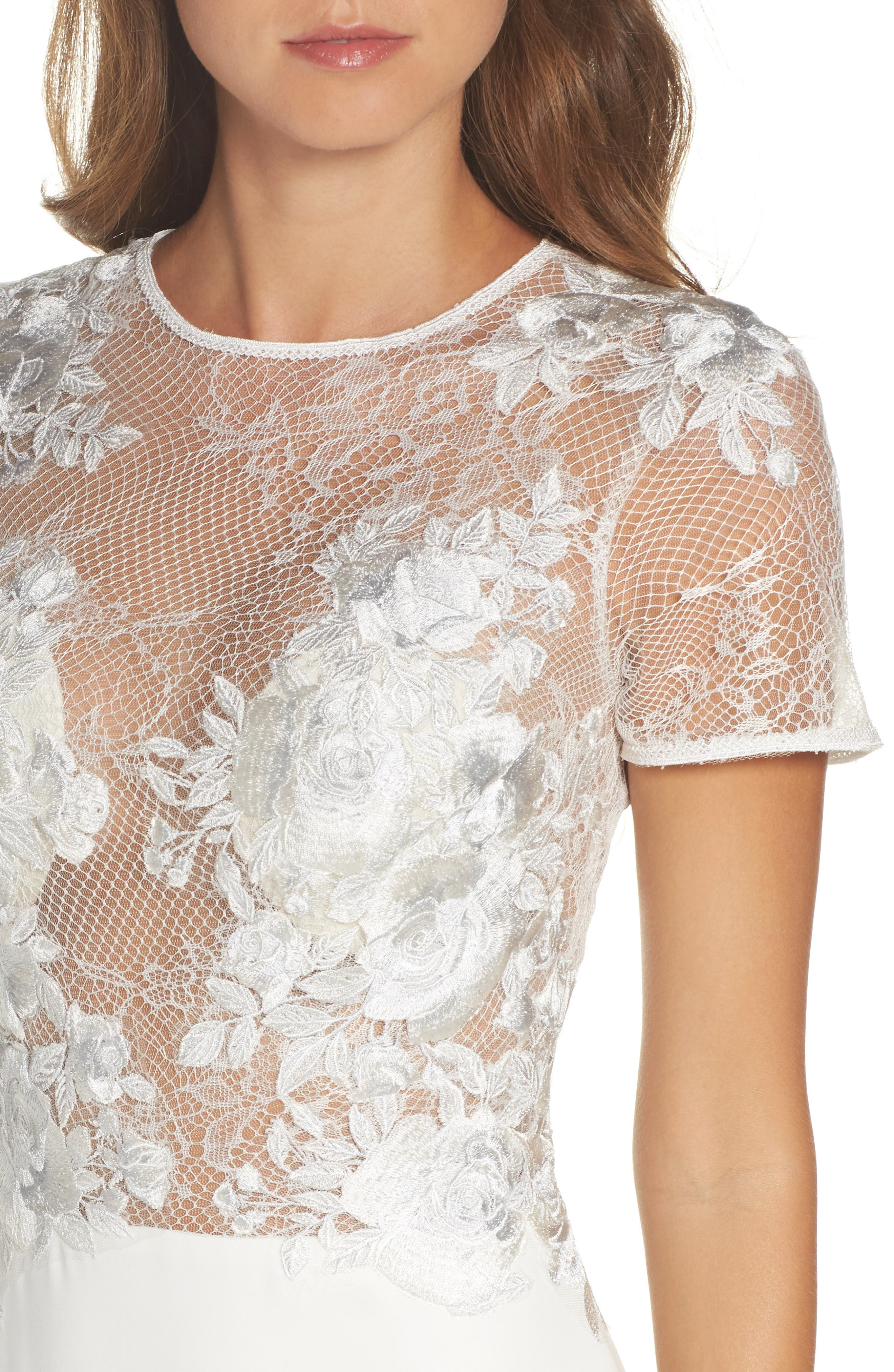 Floral Mesh Top Trumpet Gown,                             Alternate thumbnail 4, color,                             Ivory