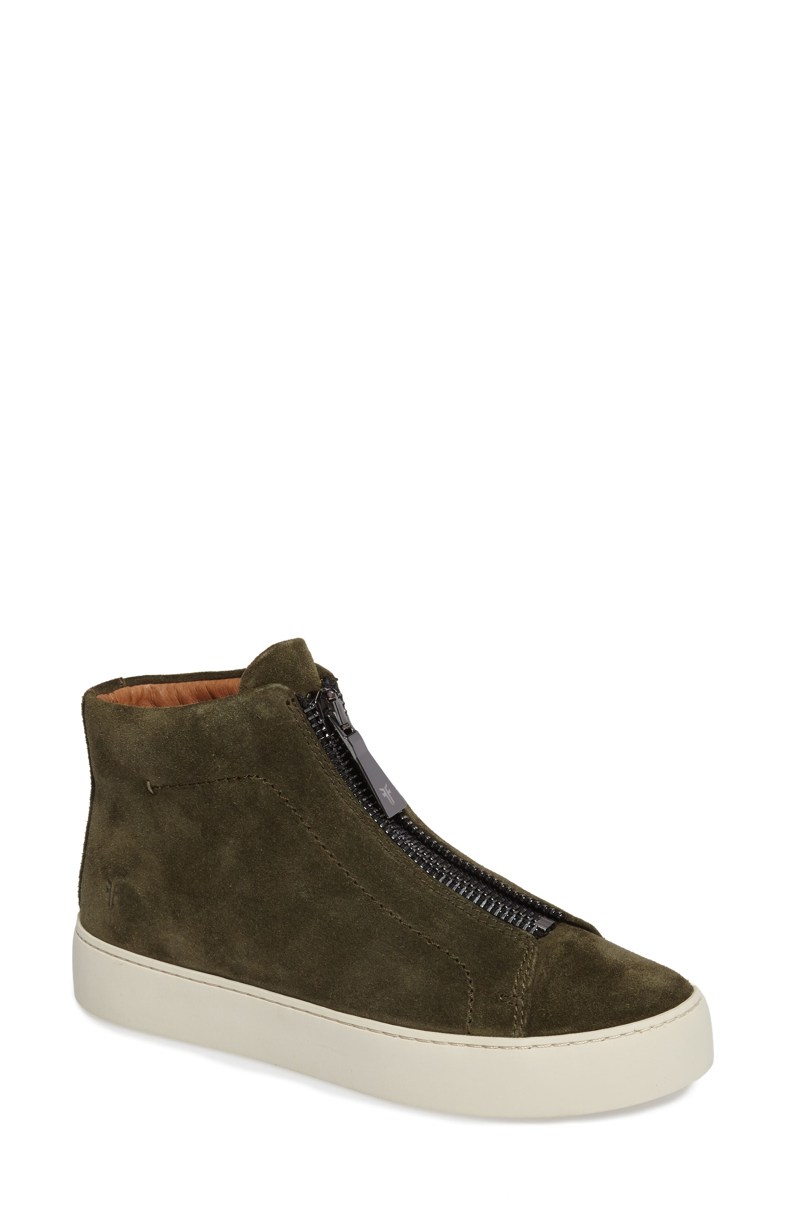 Lena Zip High Top Sneaker,                             Main thumbnail 1, color,                             Forest Suede