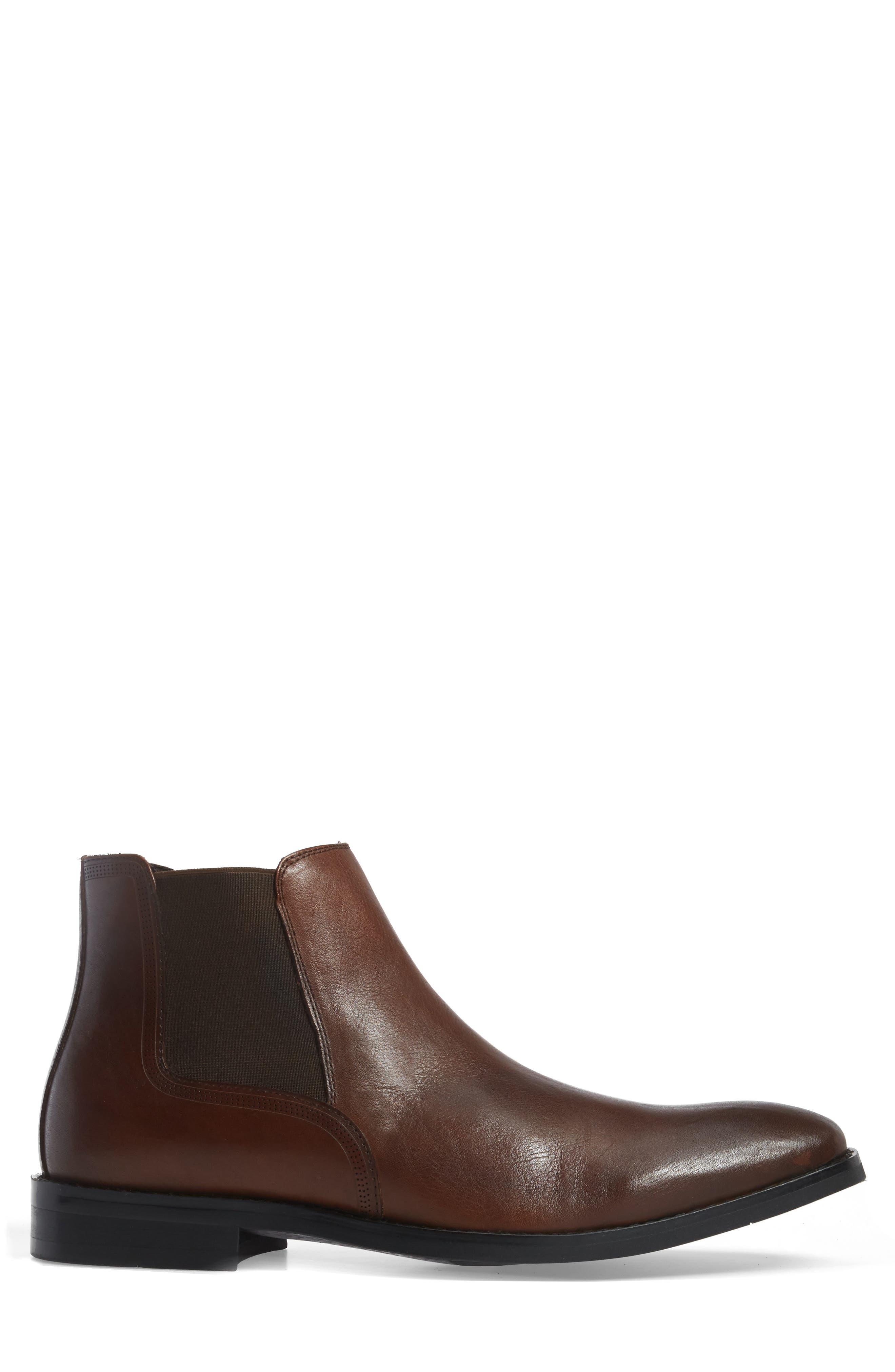 Chelsea Boot,                             Alternate thumbnail 3, color,                             Cognac Leather