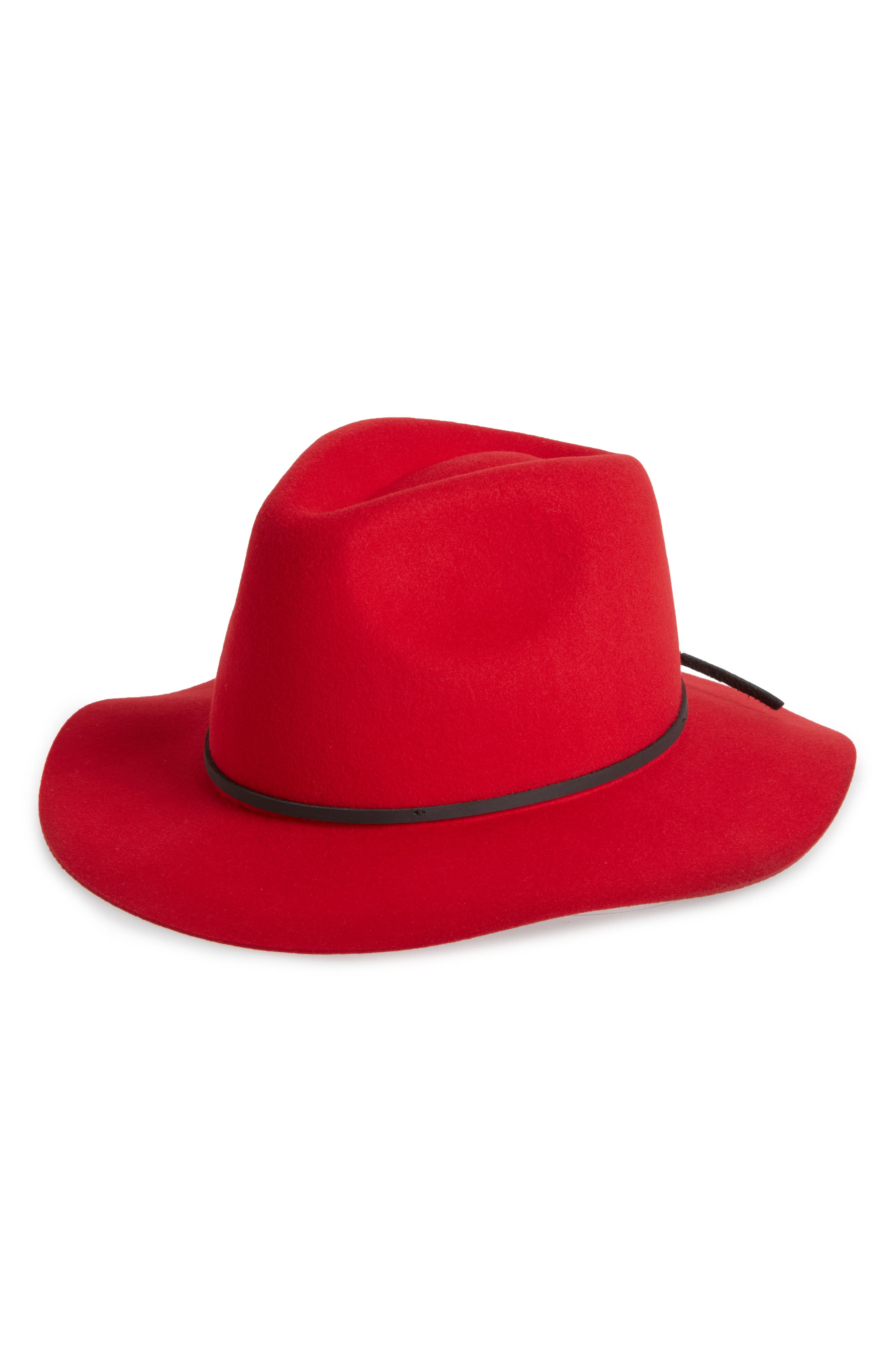 Wesley Wool Felt Fedora,                             Main thumbnail 1, color,                             Red