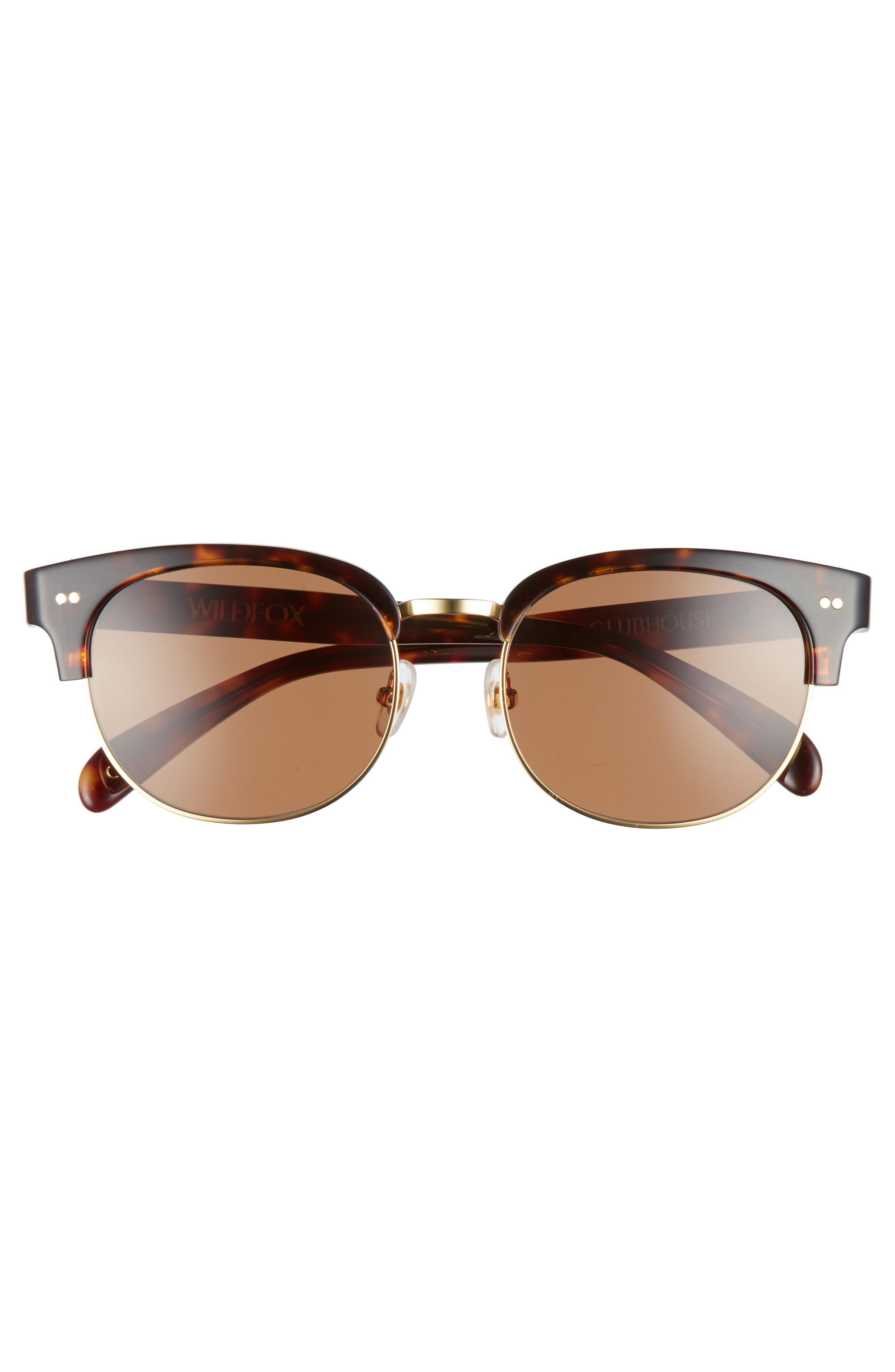 Clubhouse 50mm Semi-Rimless Sunglasses,                             Alternate thumbnail 3, color,                             Tortoise
