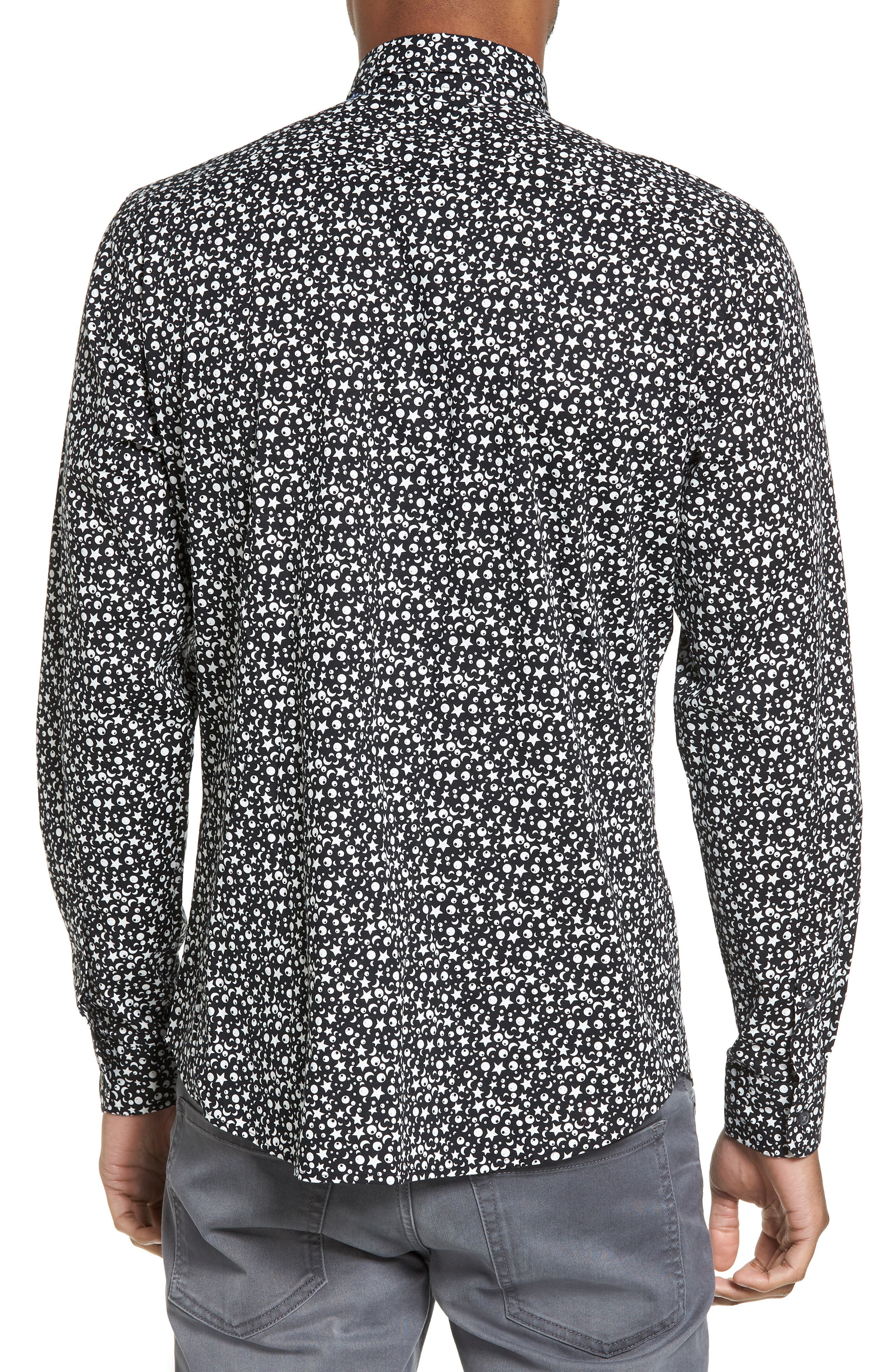 Trim Fit Star Print Sport Shirt,                             Alternate thumbnail 2, color,                             Black Star Print