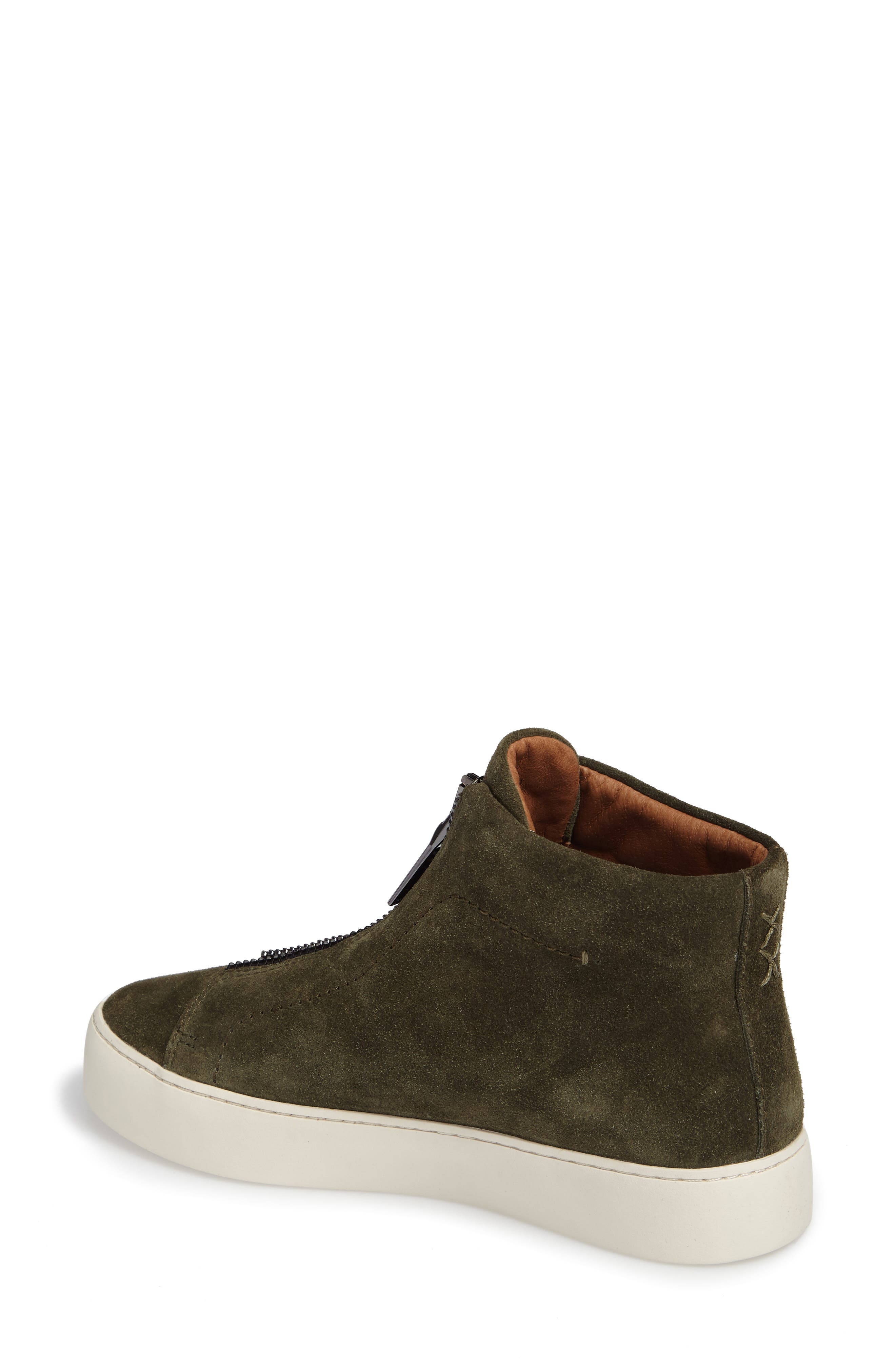 Lena Zip High Top Sneaker,                             Alternate thumbnail 2, color,                             Forest Suede