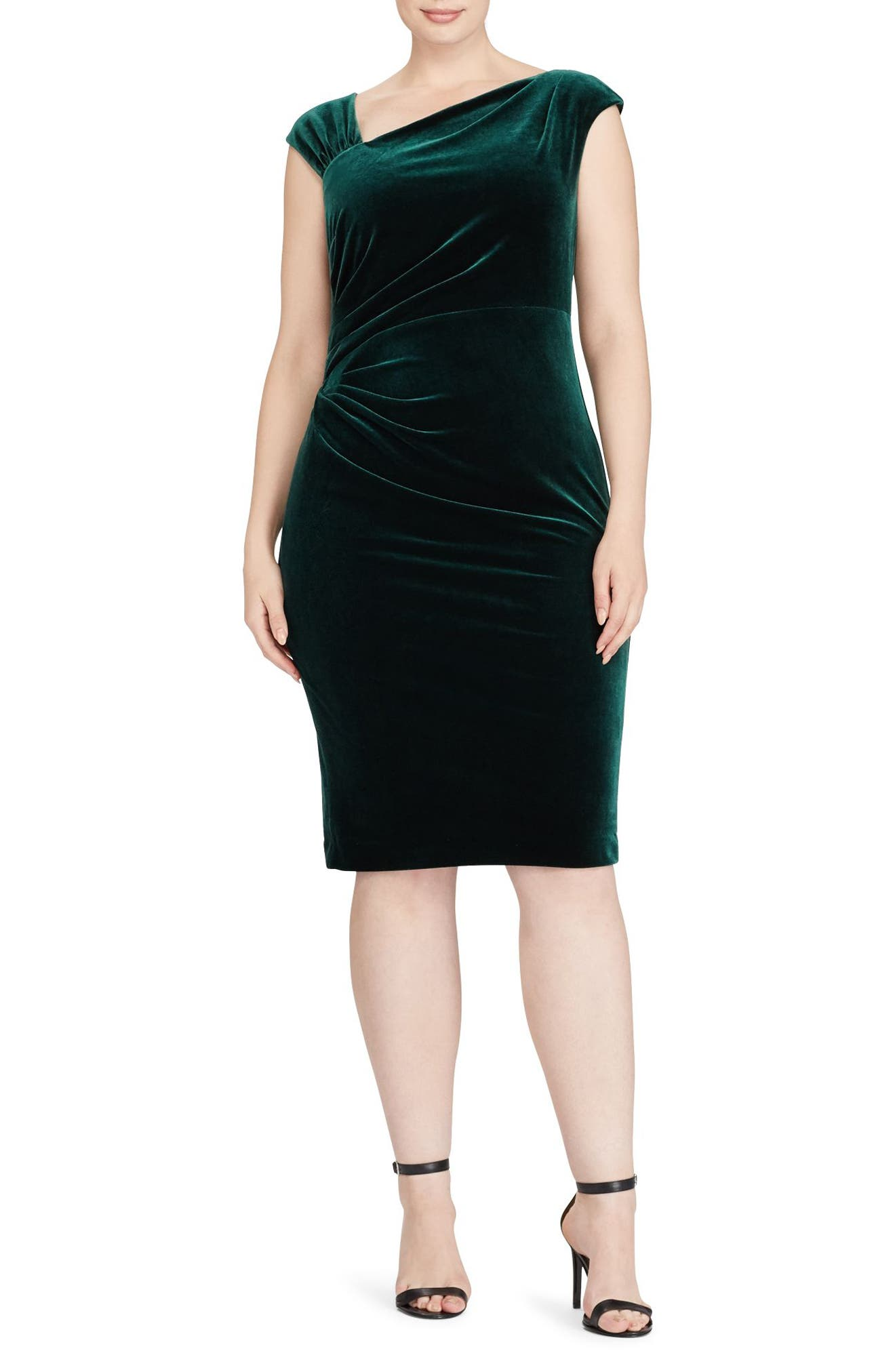 Alternate Image 1 Selected - Lauren Ralph Lauren Velvet Sheath Dress (Plus Size)