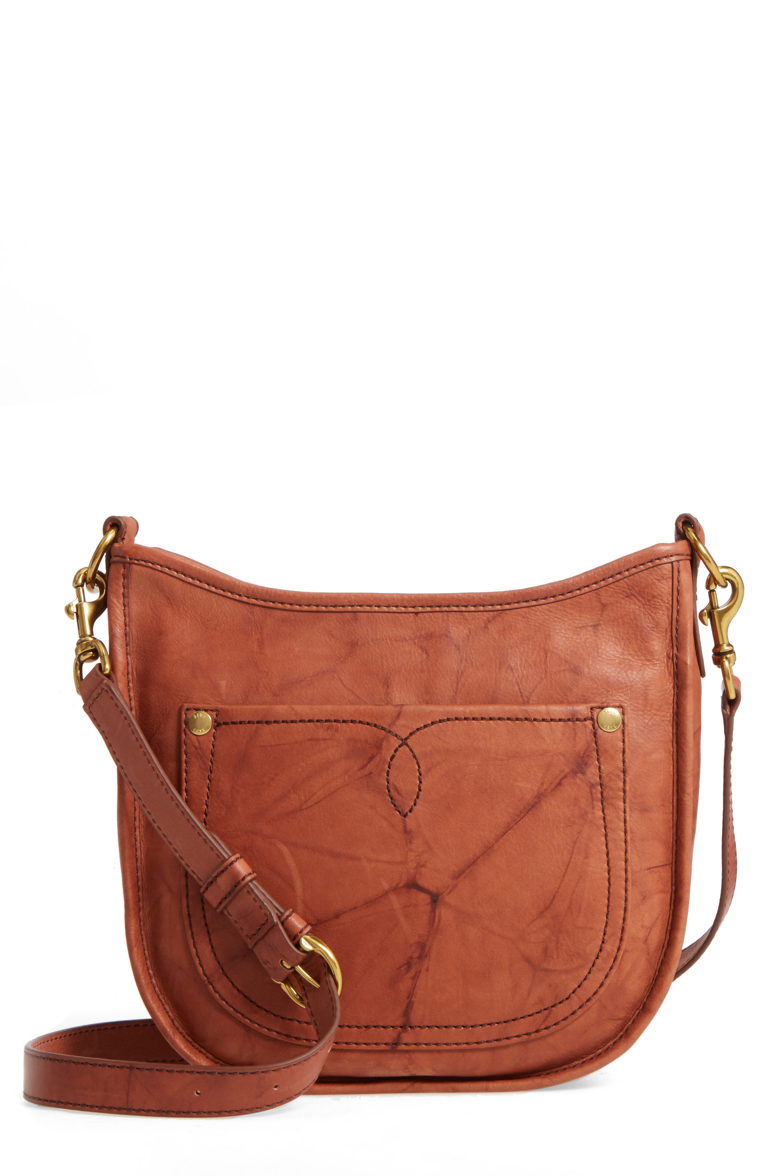 Campus Rivet Leather Crossbody Bag,                             Main thumbnail 1, color,                             Saddle