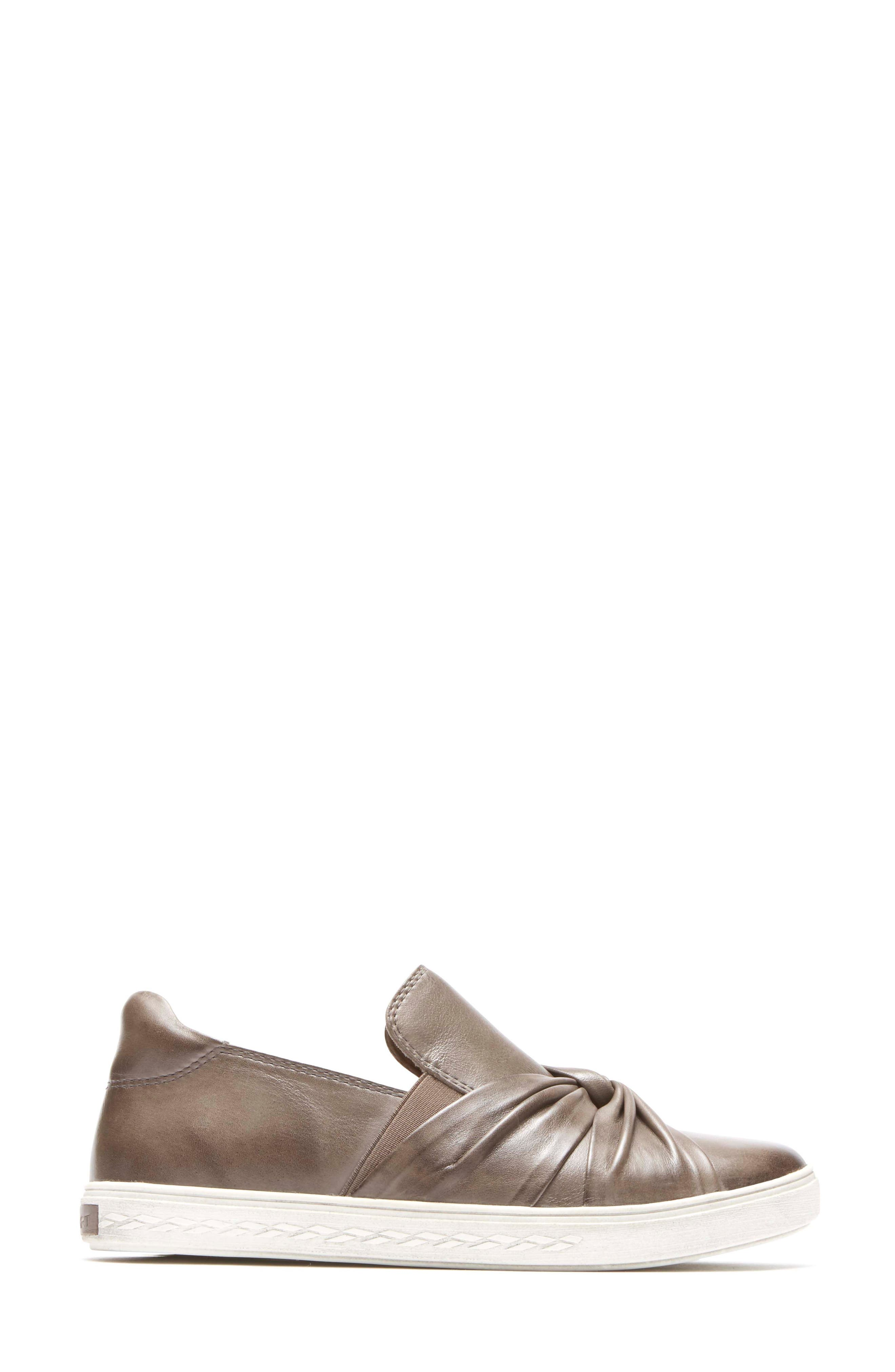 Willa Bow Slip-On,                             Alternate thumbnail 3, color,                             Grey Leather