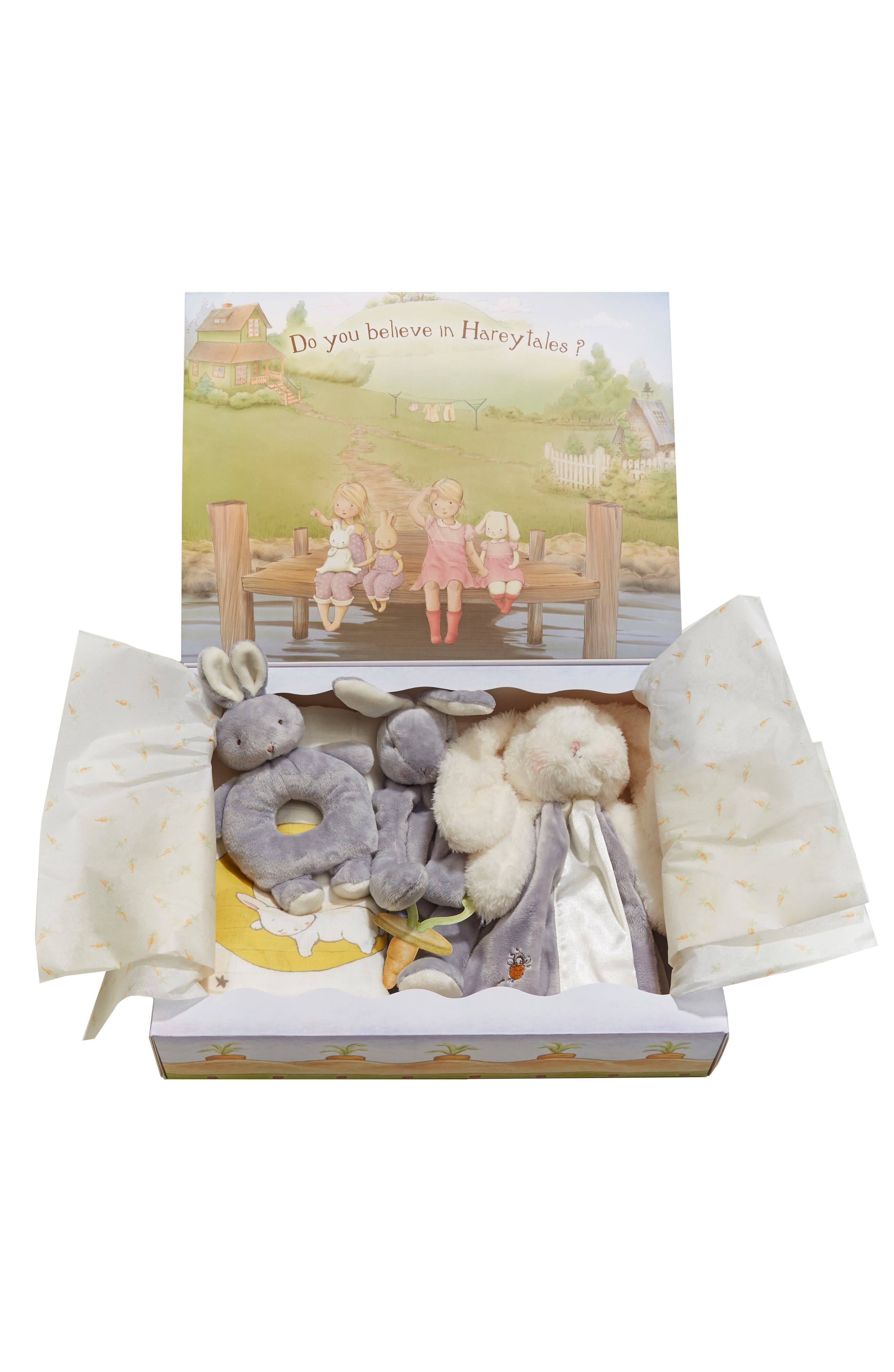Alternate Image 5  - Bunnies By The Bay Swaddle, Buddy Blanket, Pacifier Holder & Teething Ring Rattle Set (Baby)