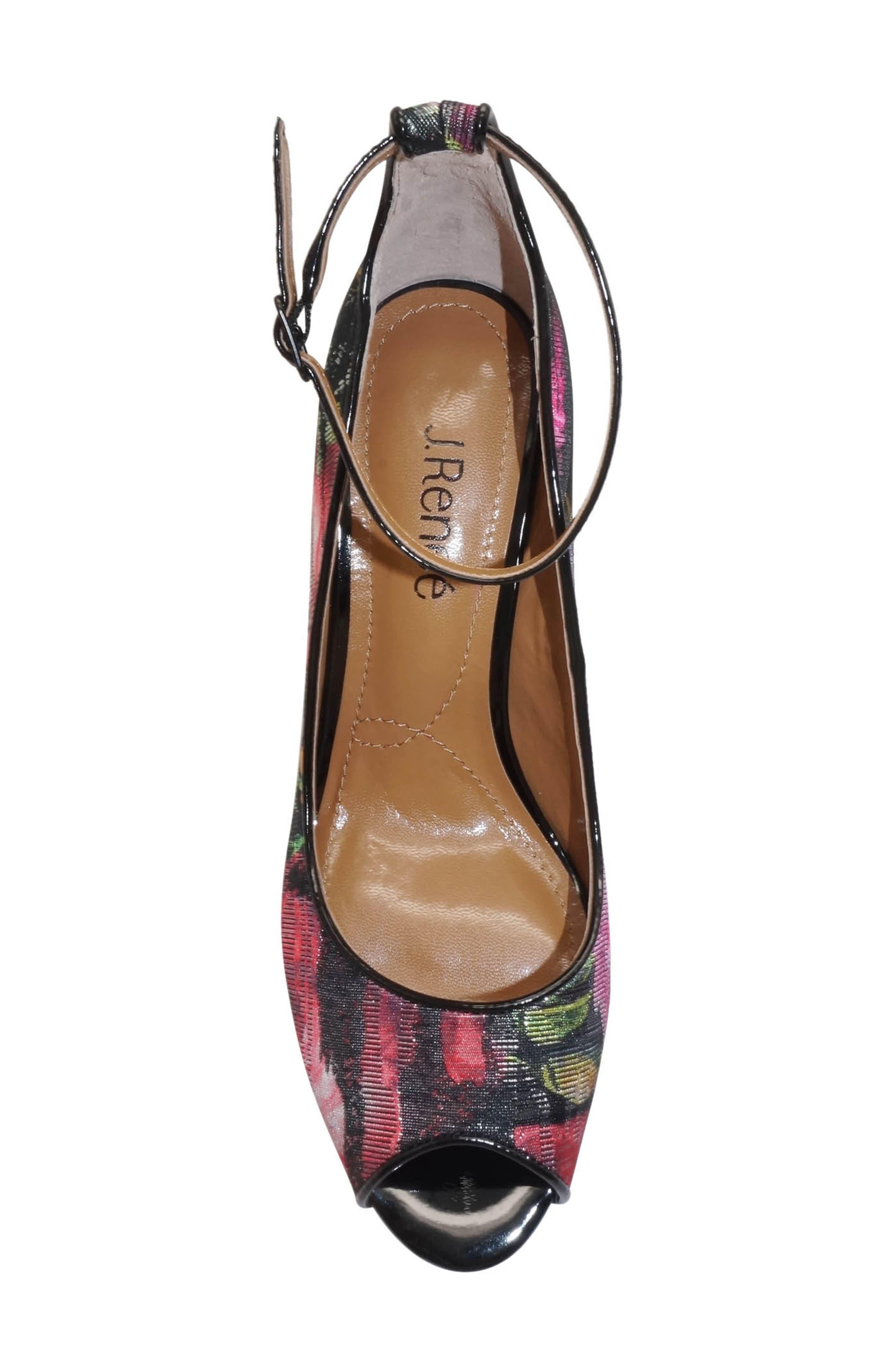 Raspalli Ankle Strap Peep Toe Pump,                             Alternate thumbnail 5, color,                             Red/ Black Multi