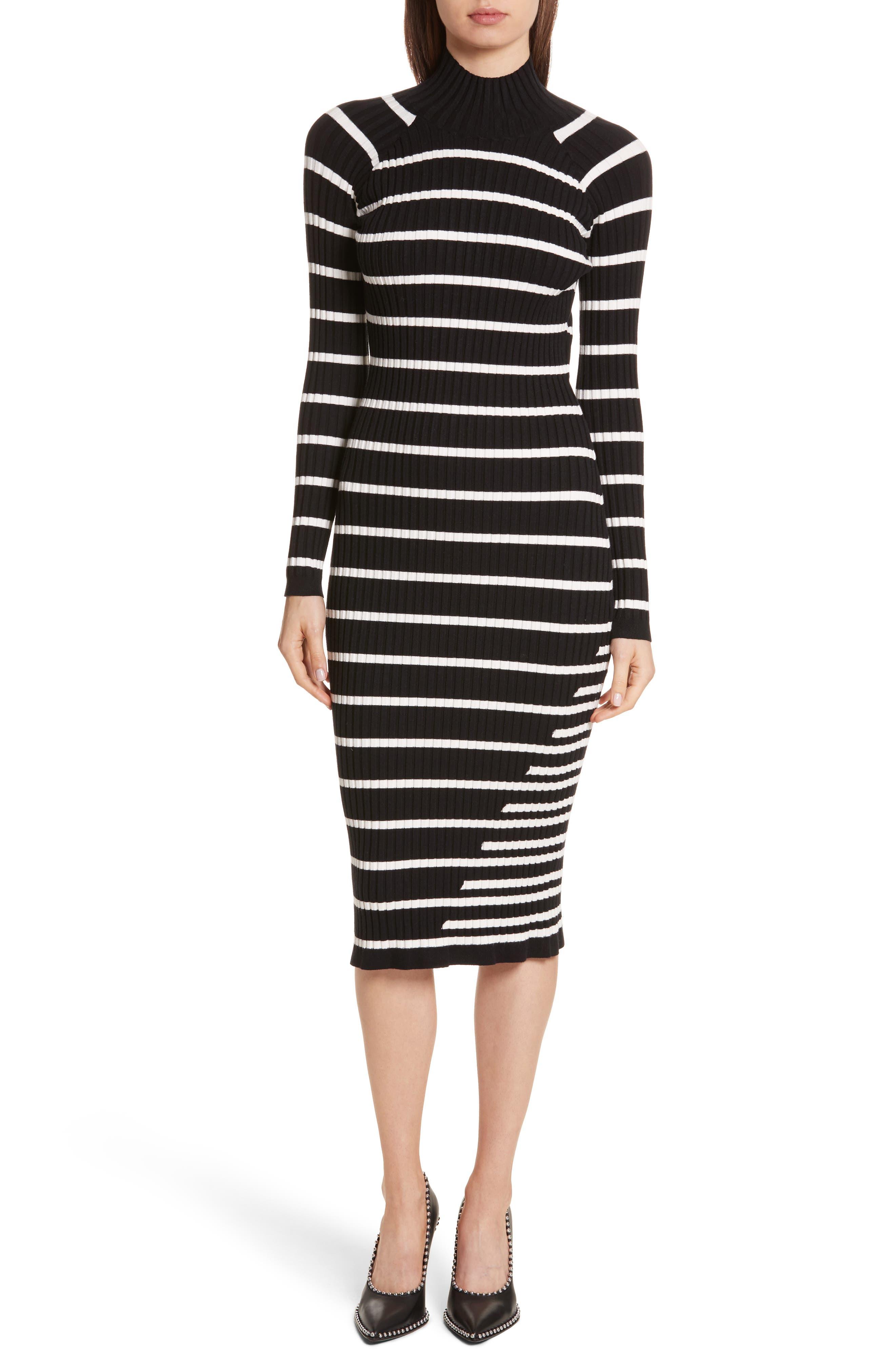 Stripe Knit Turtleneck Dress,                         Main,                         color, Black With Ivory Stripe