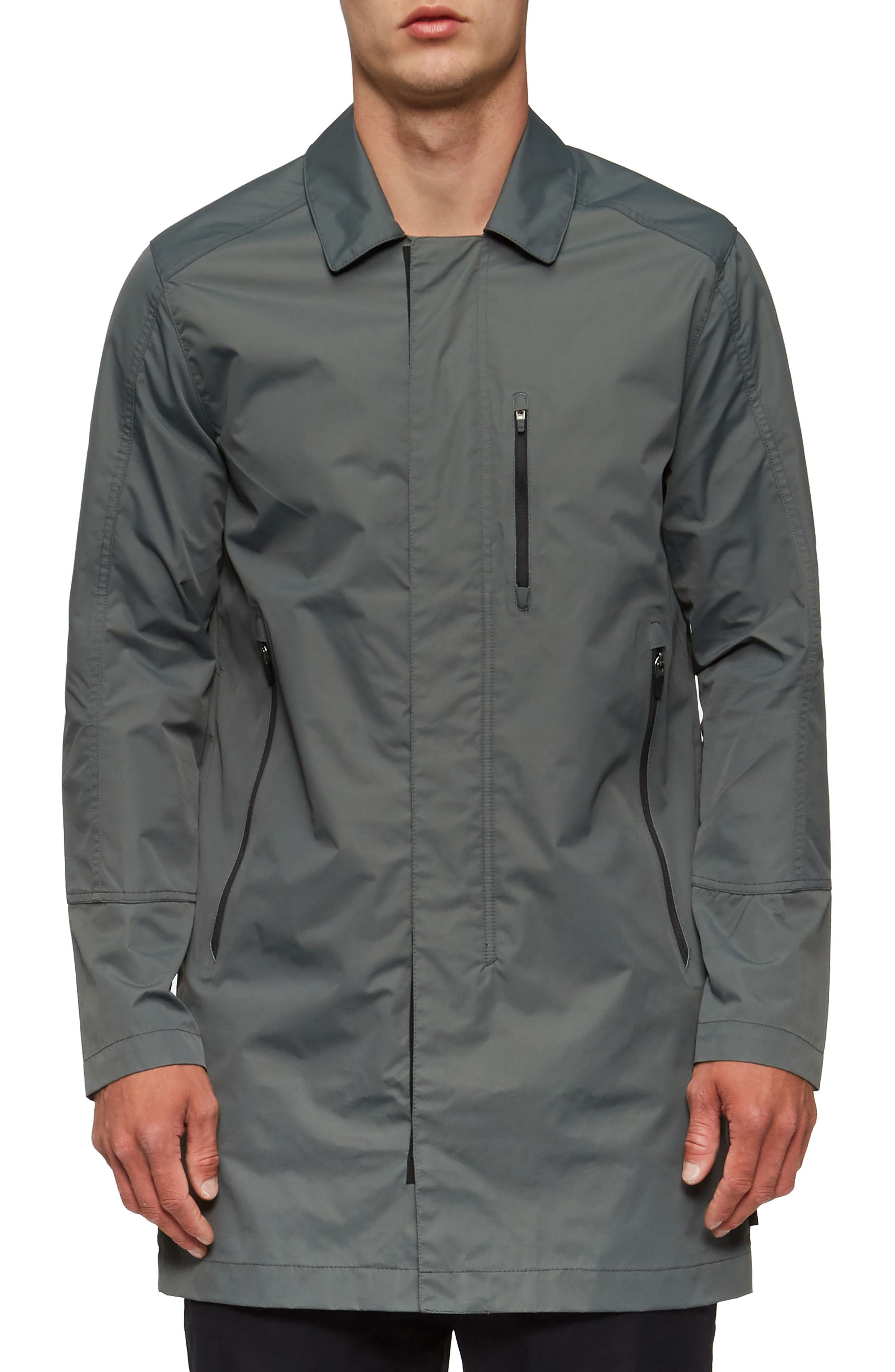 Deckard Weather Resistant Trench Coat,                             Main thumbnail 1, color,                             Surplus Green