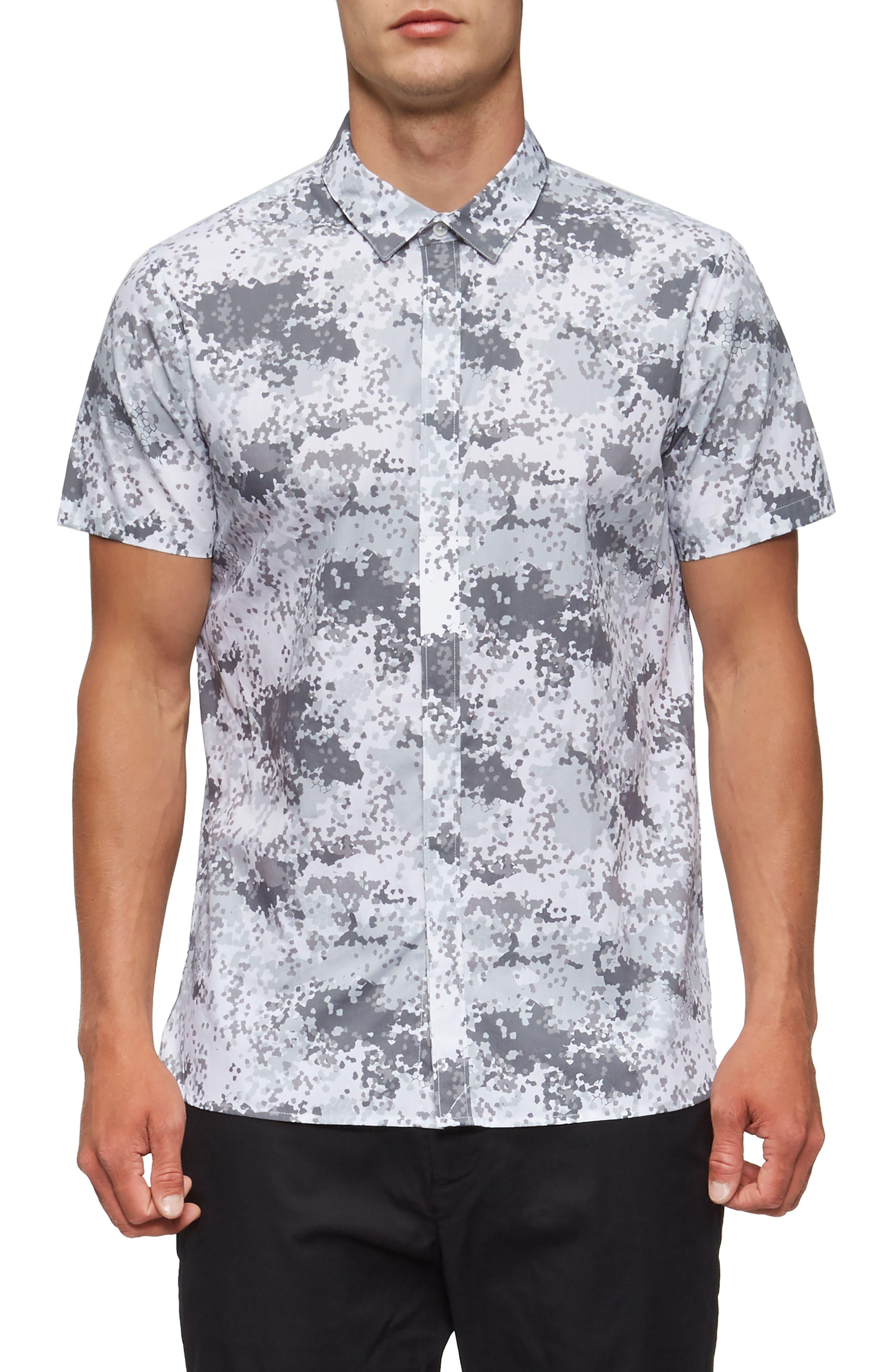 Bexley Woven Shirt,                         Main,                         color, White Geo Camo