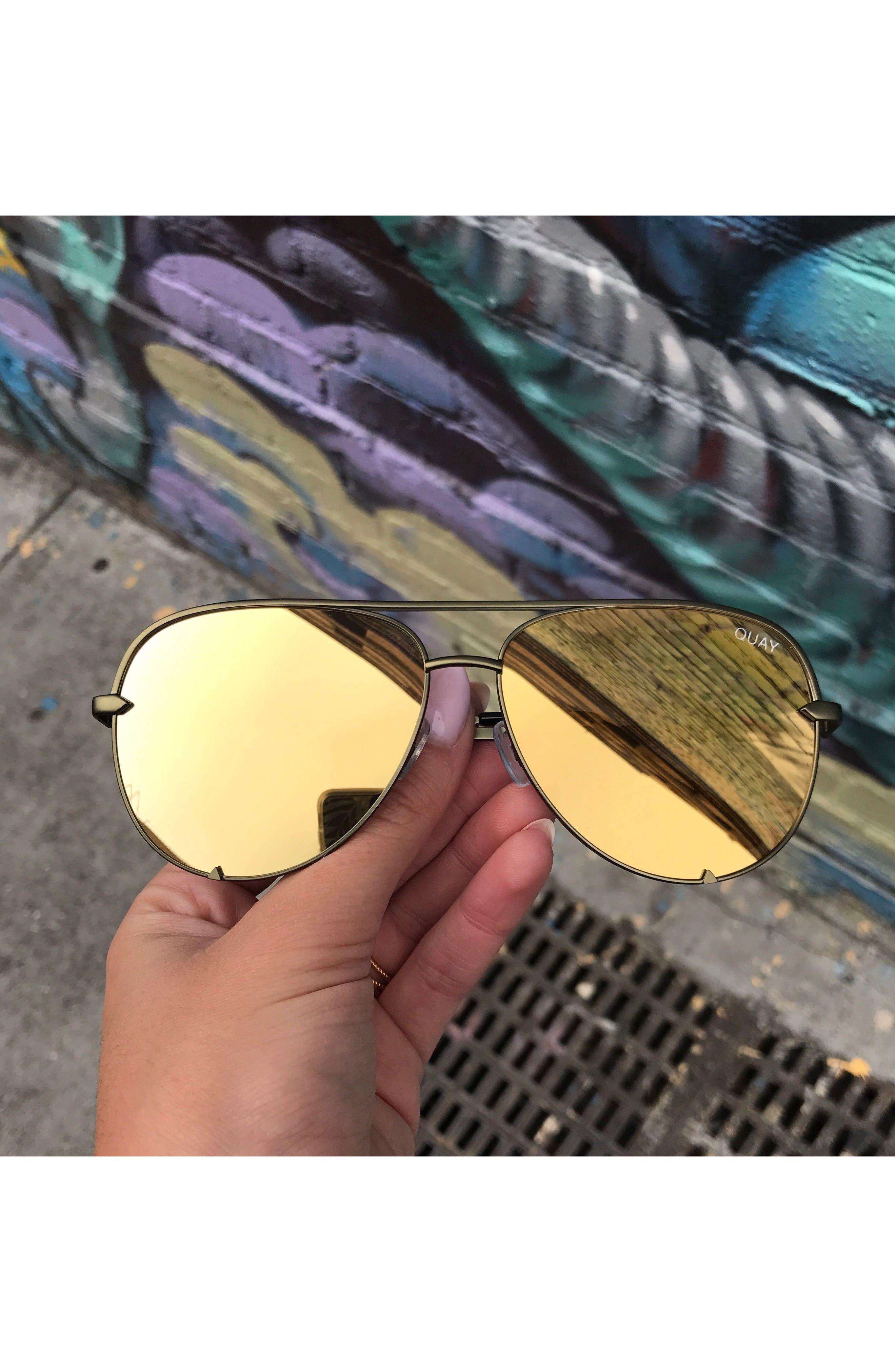 x Desi Perkins High Key 60mm Aviator Sunglasses,                             Alternate thumbnail 7, color,                             Green/ Gold