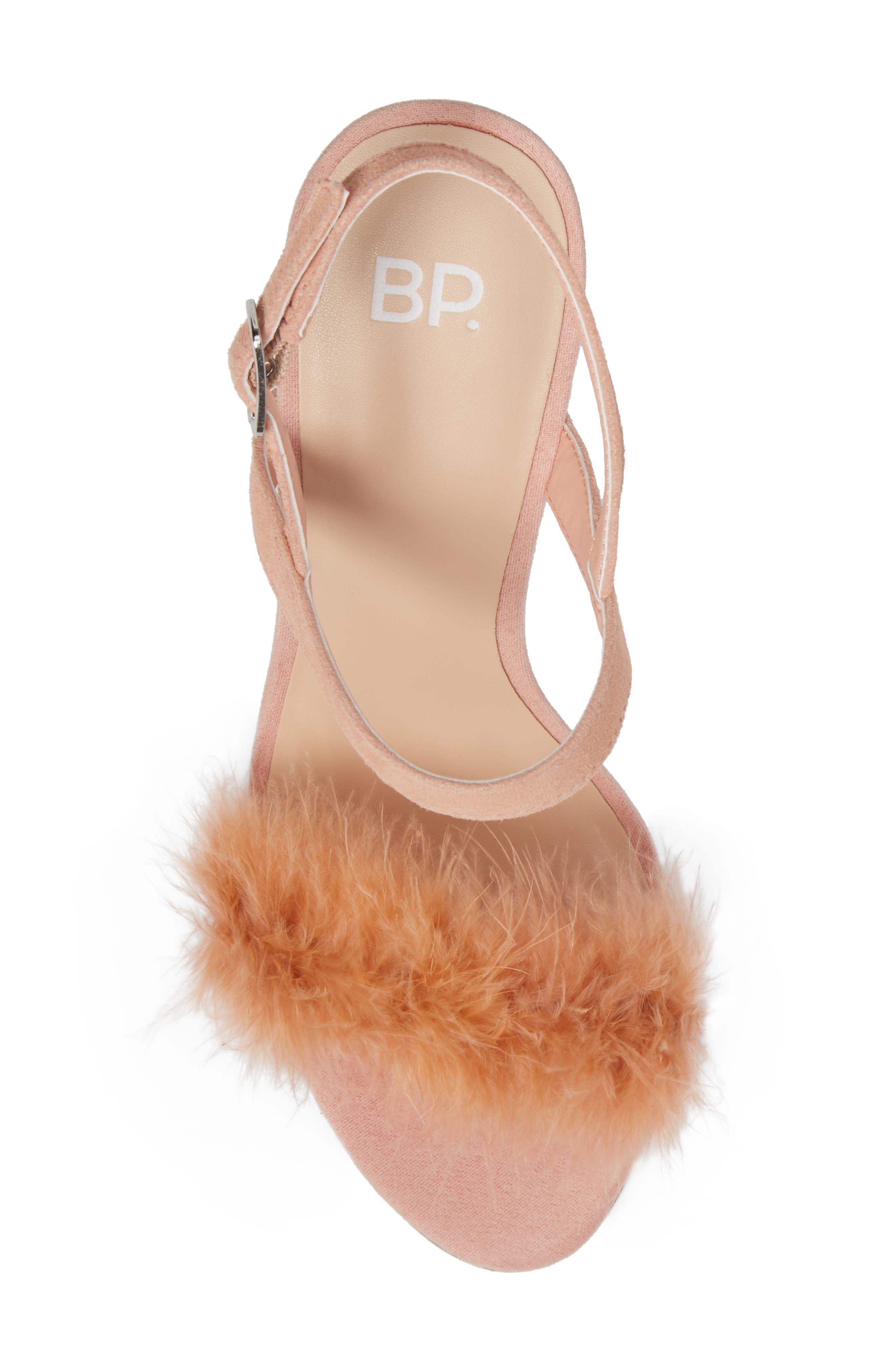 Lula Block Heel Slingback Sandal,                             Alternate thumbnail 5, color,                             Blush Feathers