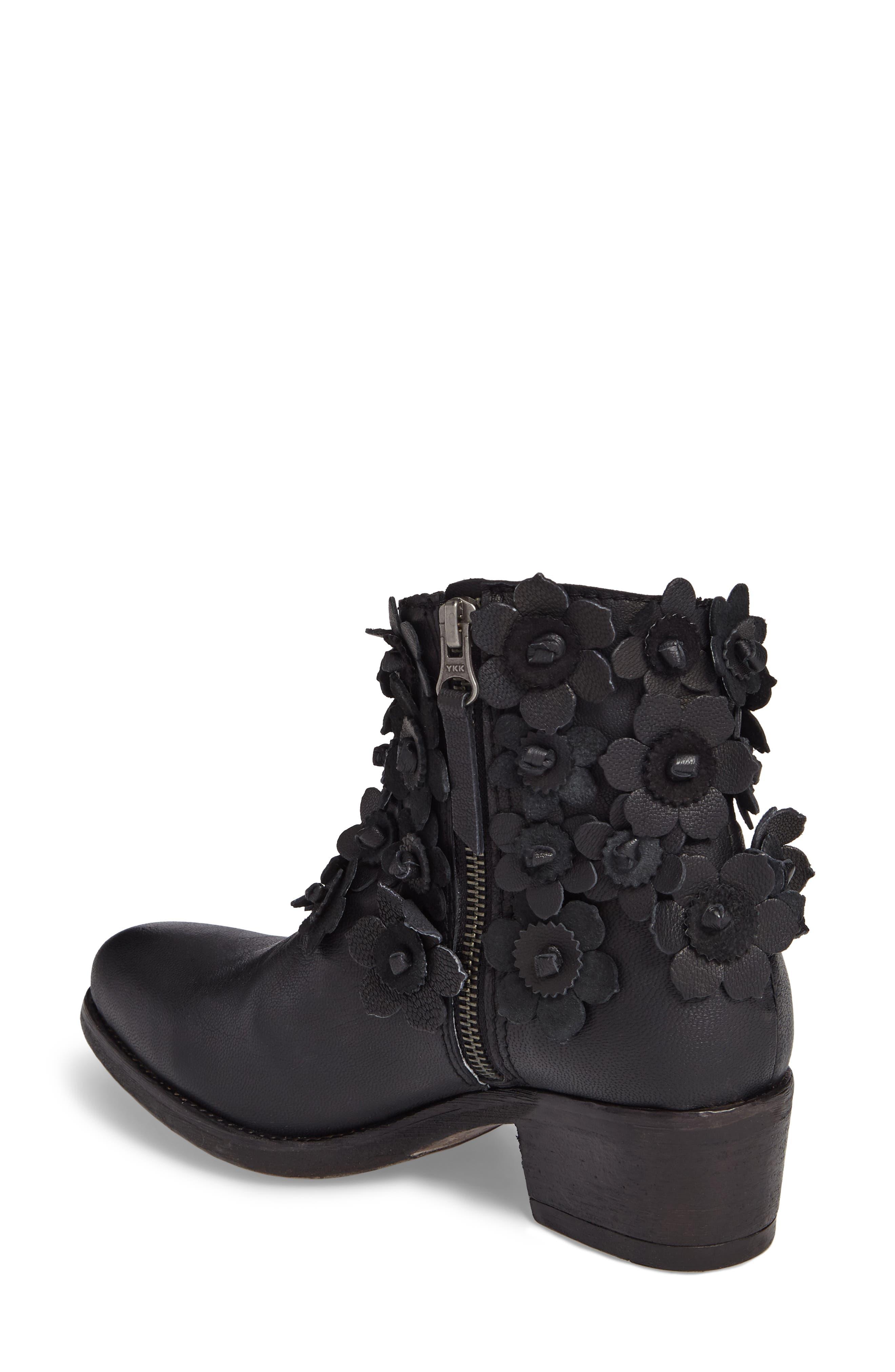 Saffron Bootie,                             Alternate thumbnail 2, color,                             Black Leather