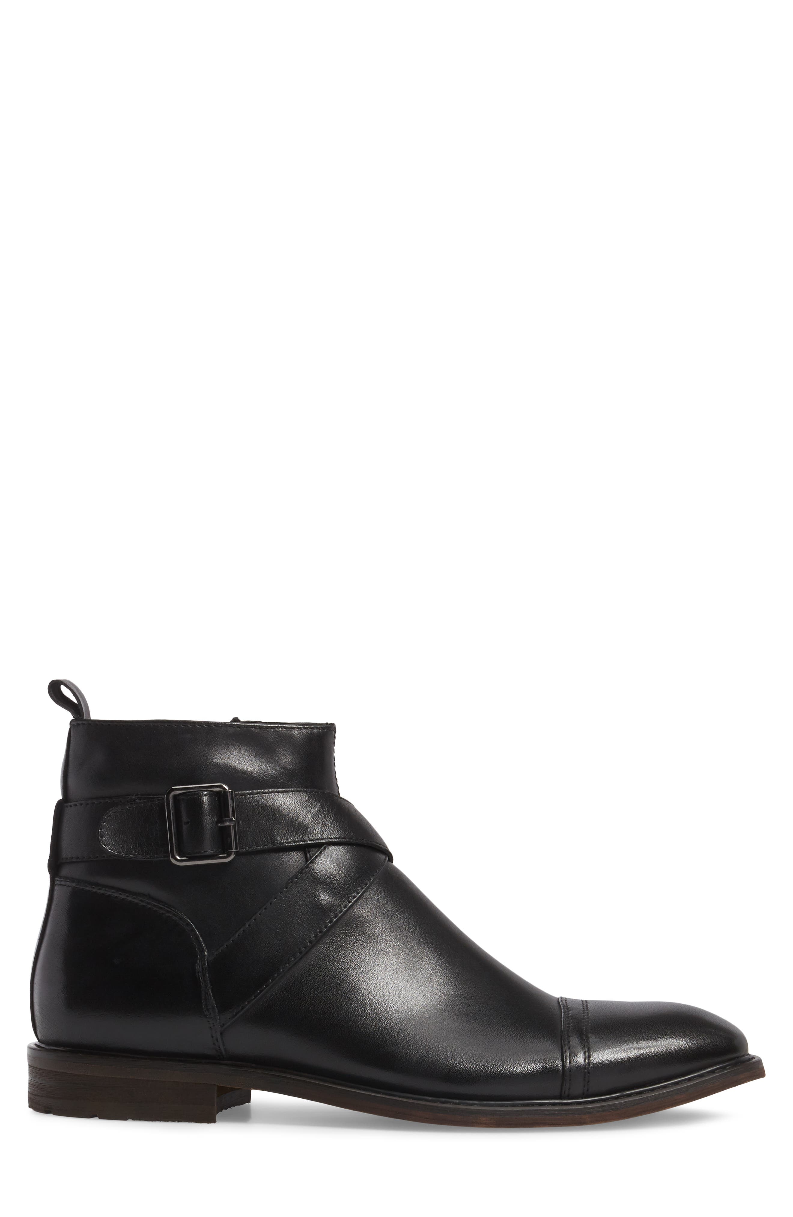 Edmond Zip Boot,                             Alternate thumbnail 3, color,                             Black Leather