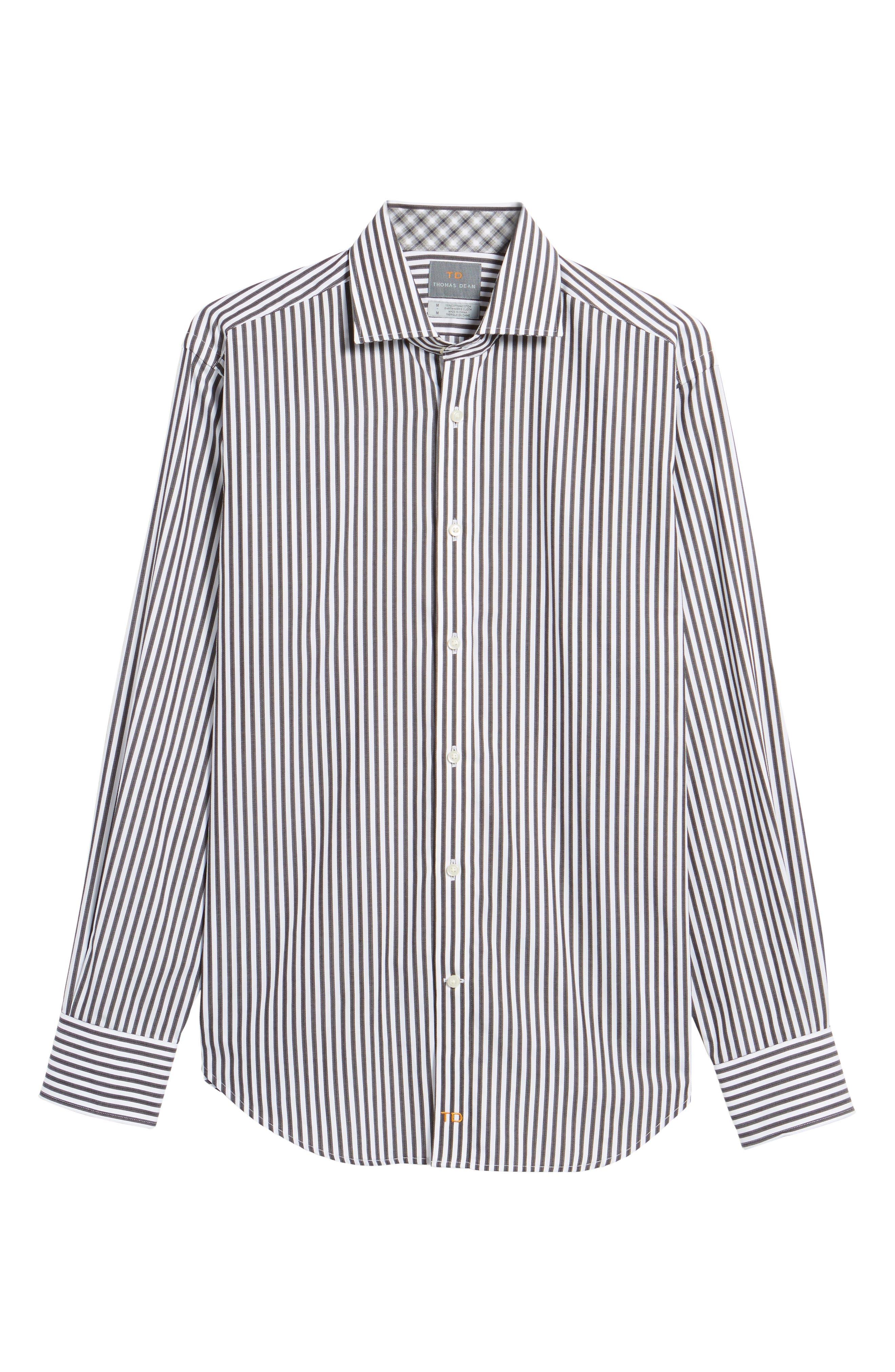 Alternate Image 6  - Thomas Dean Regular Fit Stripe Herringbone Sport Shirt